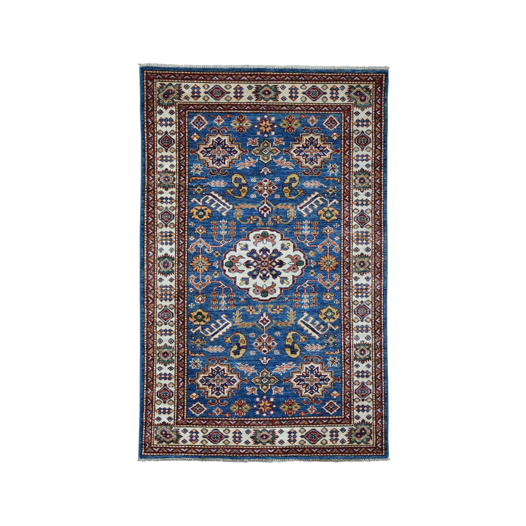 "3'3""X5'2"" Super Kazak Pure Wool Blue Geometric Design Hand-Knotted Oriental Rug moae0088"