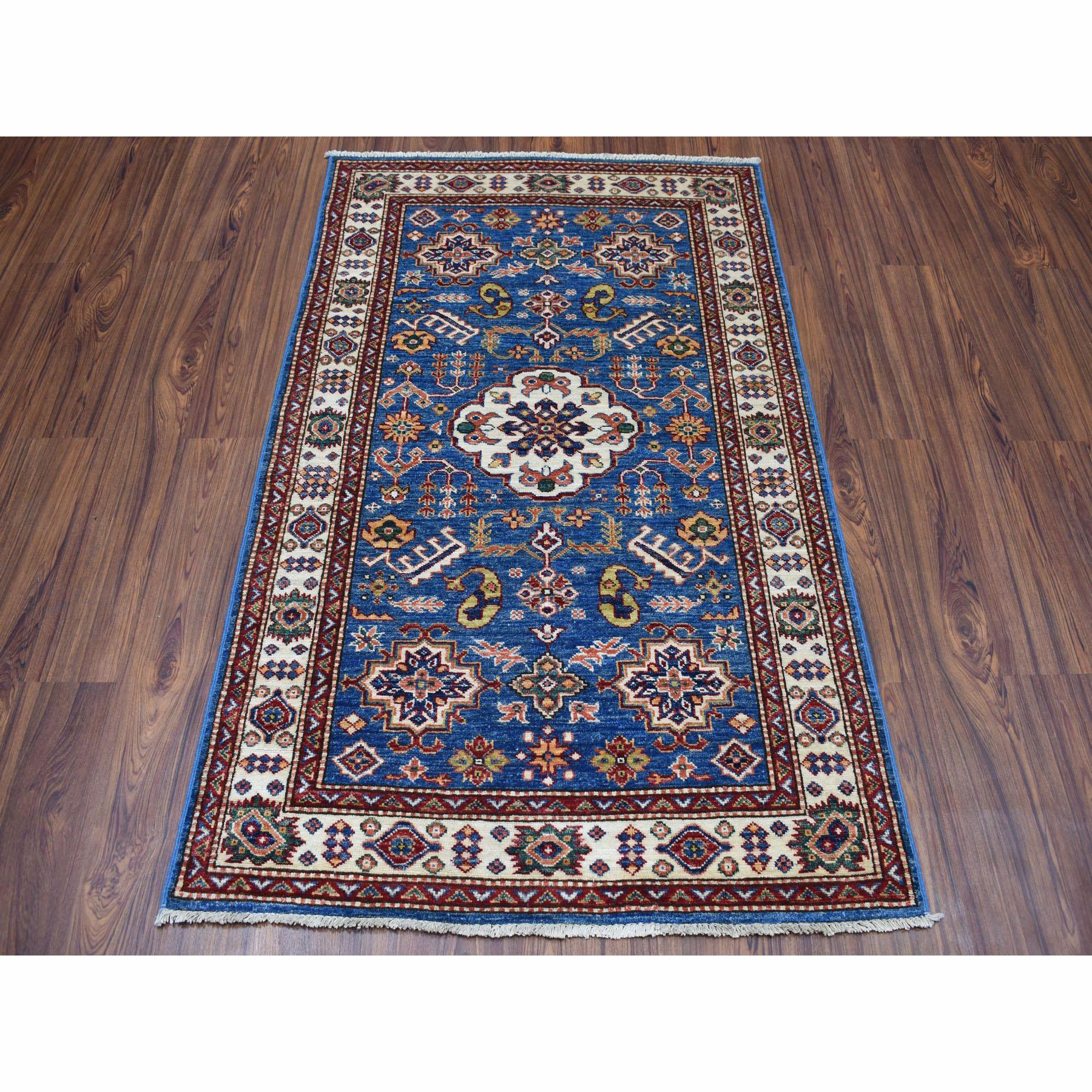 3-3 x5-2  Super Kazak Pure Wool Blue Geometric Design Hand-Knotted Oriental Rug