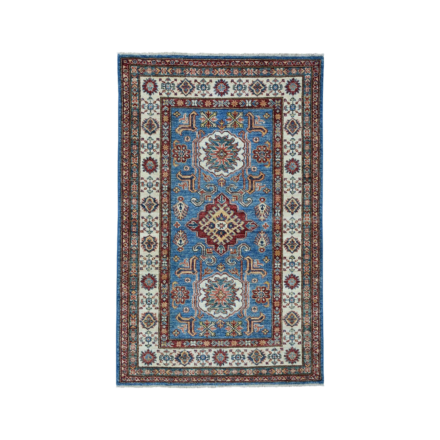 "3'3""X4'9"" Blue Super Kazak Pure Wool Geometric Design Hand-Knotted Oriental Rug moae0090"
