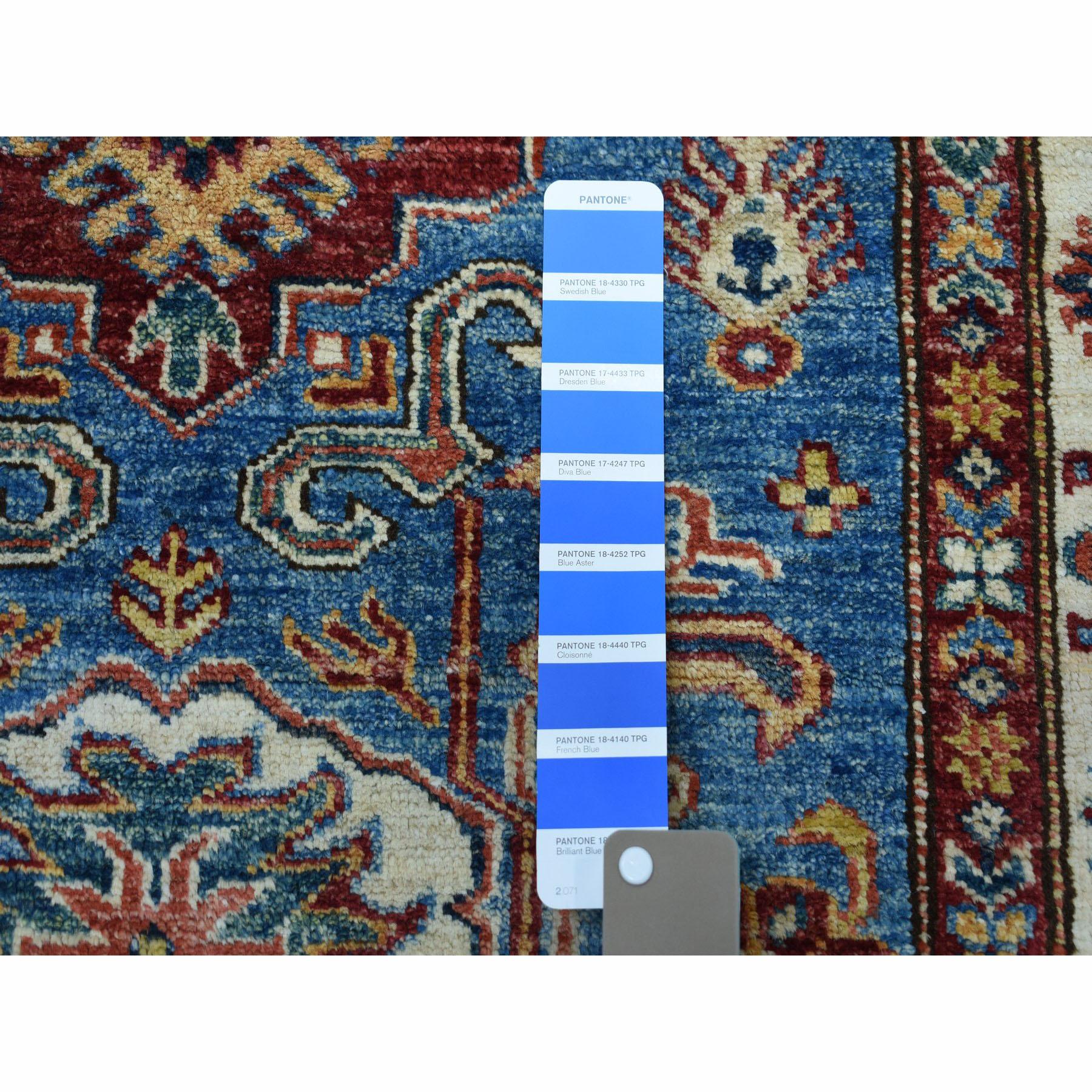 3-3 x4-9  Blue Super Kazak Pure Wool Geometric Design Hand-Knotted Oriental Rug