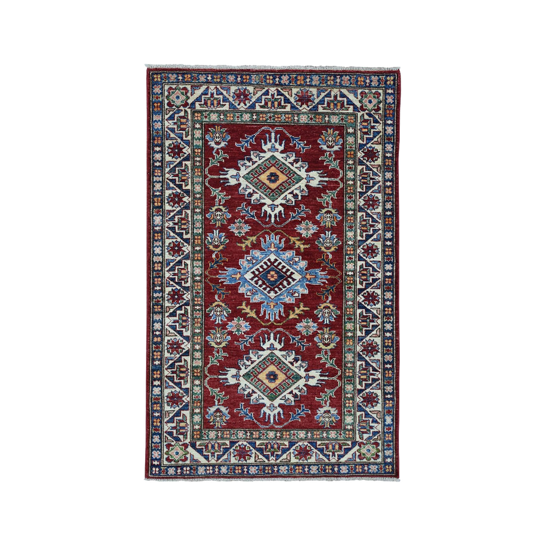 "3'2""X4'9"" Red Super Kazak Pure Wool Geometric Design Hand-Knotted Oriental Rug moae009a"