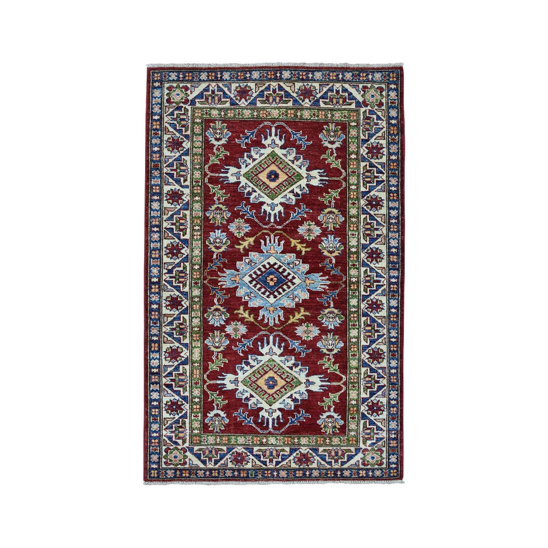 "3'3""X4'8"" Blue Super Kazak Pure Wool Geometric Design Hand-Knotted Oriental Rug moae009d"