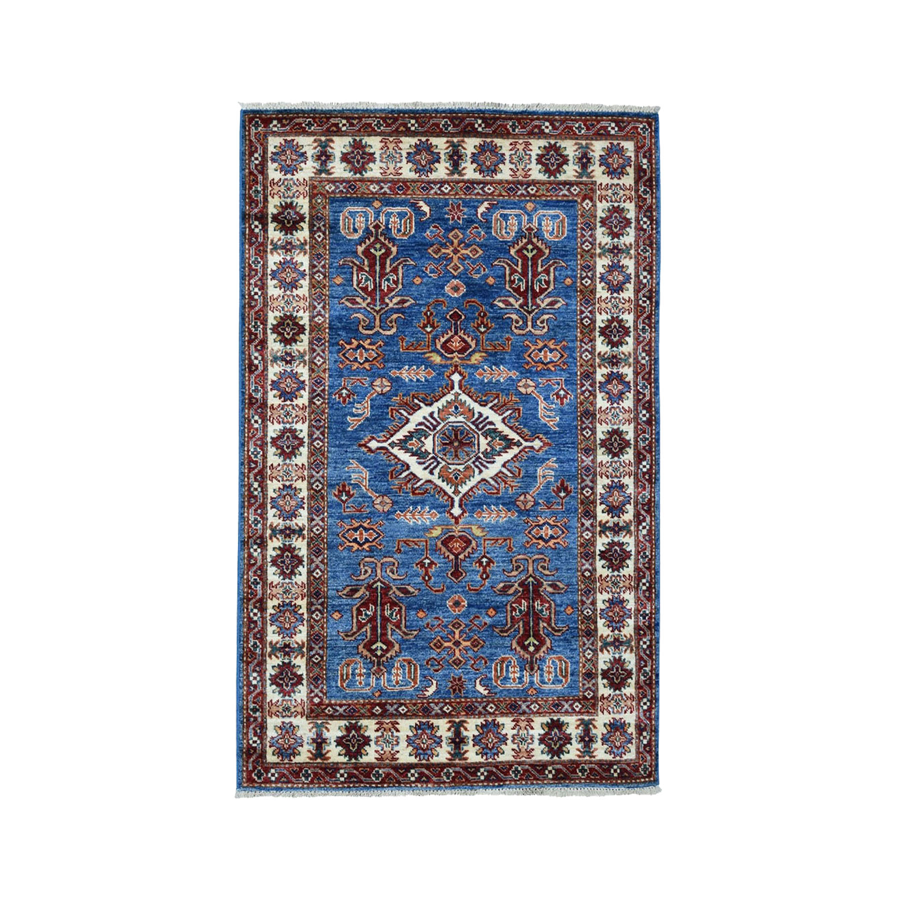 "3'2""x4'8"" Blue Super Kazak Pure Wool Geometric Design Hand-Knotted Oriental Rug"