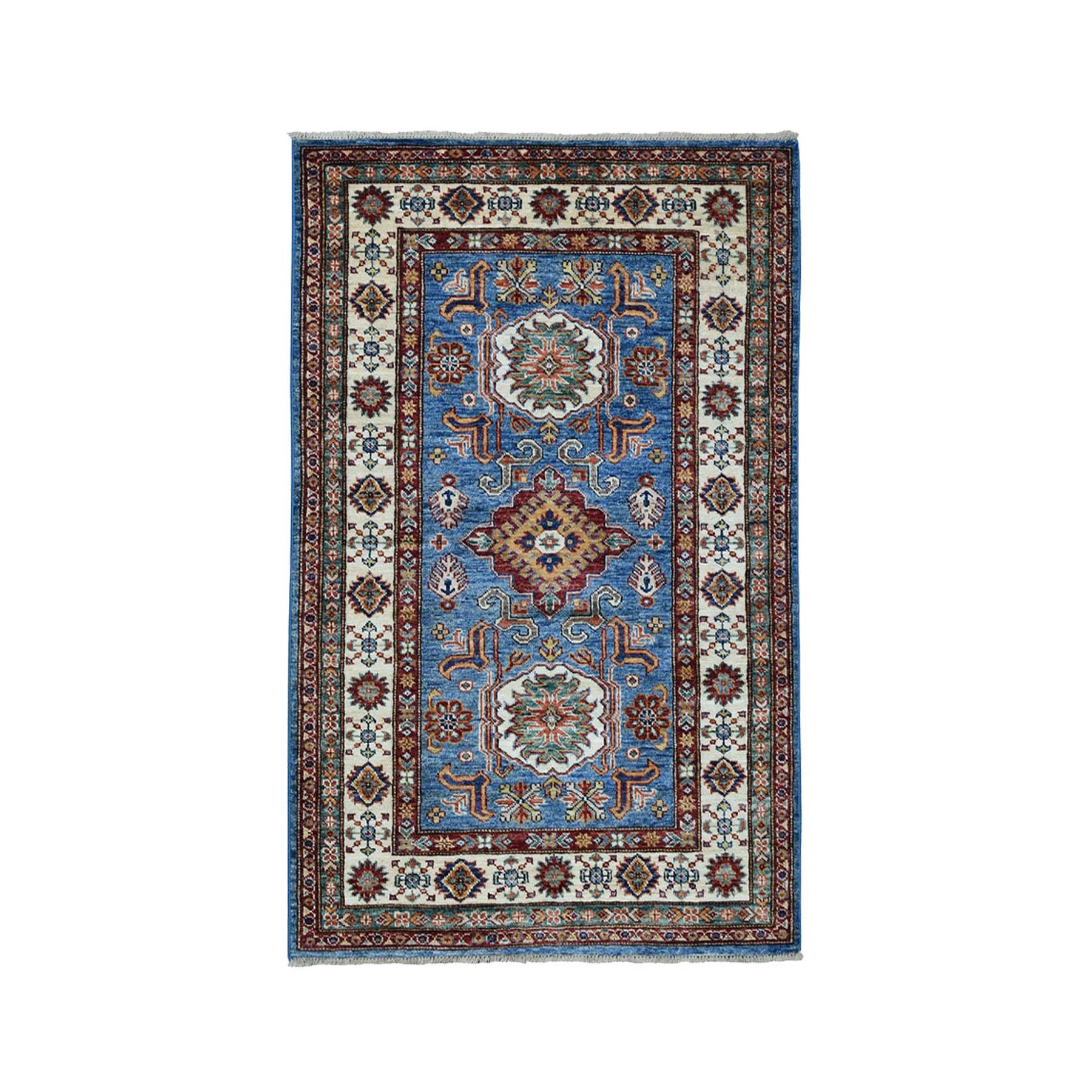 "3'3""X5' Blue Super Kazak Pure Wool Geometric Design Hand-Knotted Oriental Rug moae0096"