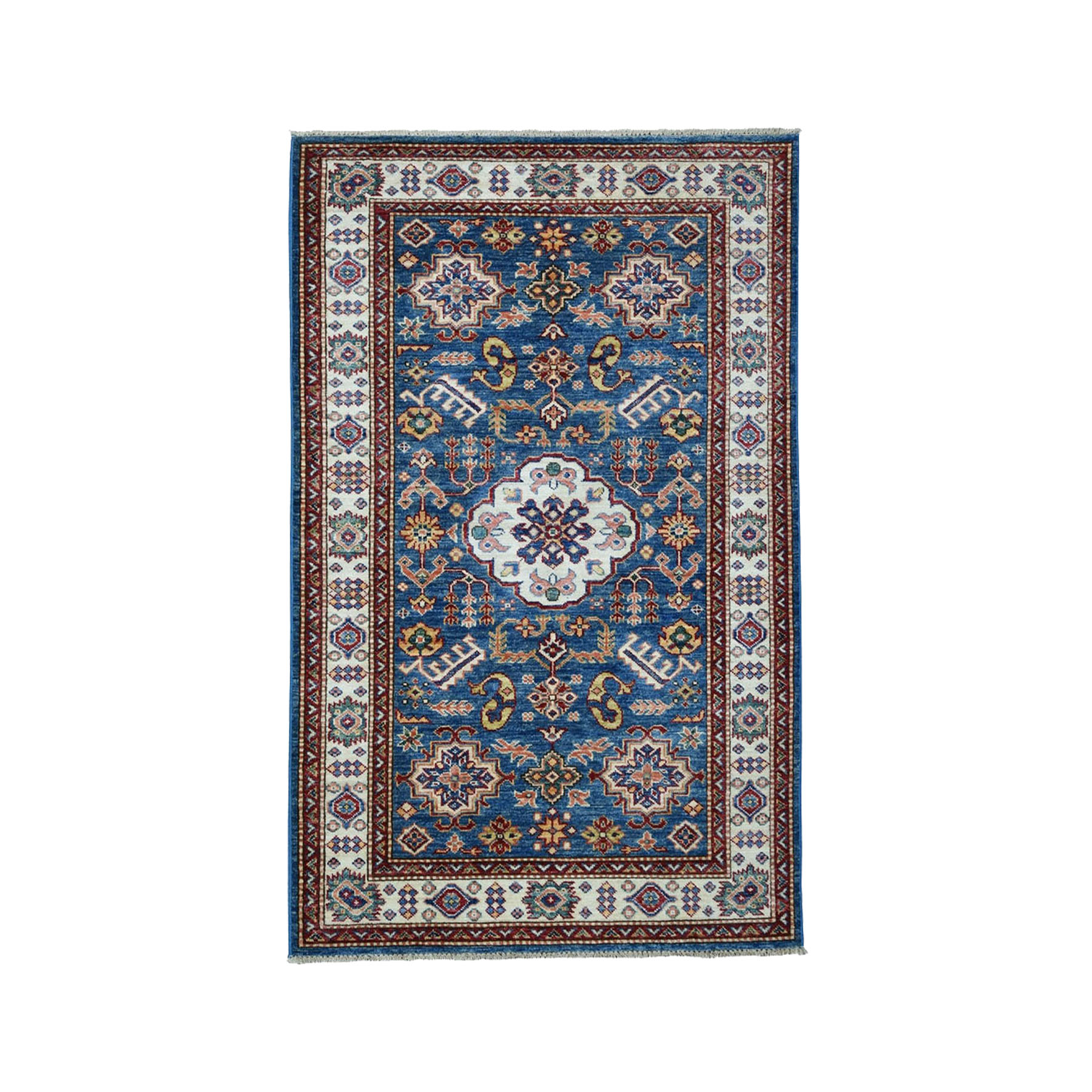 "3'3""X5' Blue Super Kazak Pure Wool Geometric Design Hand-Knotted Oriental Rug moae0099"