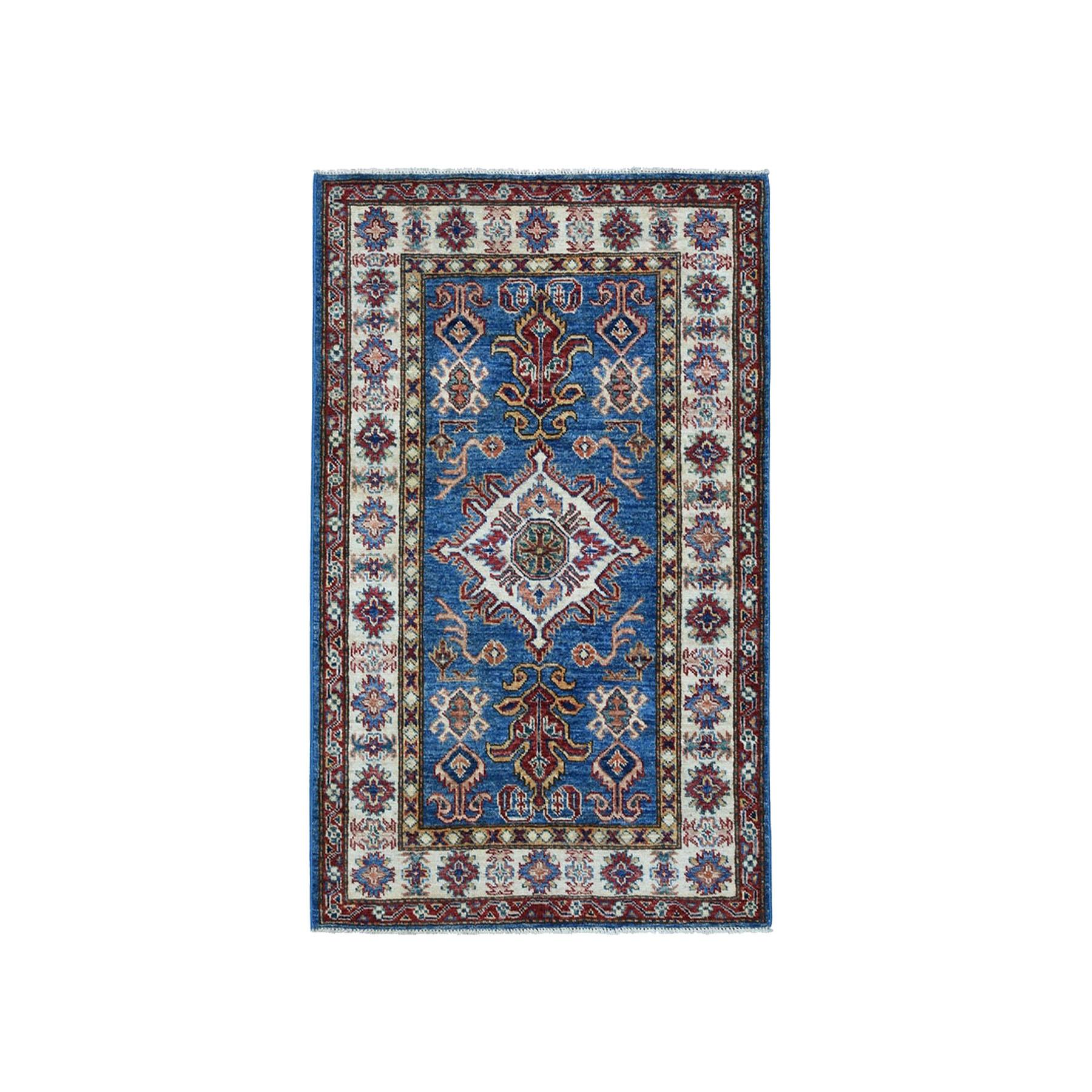 "2'10""X3'10"" Blue Super Kazak Pure Wool Geometric Design Hand-Knotted Oriental Rug moae0a00"