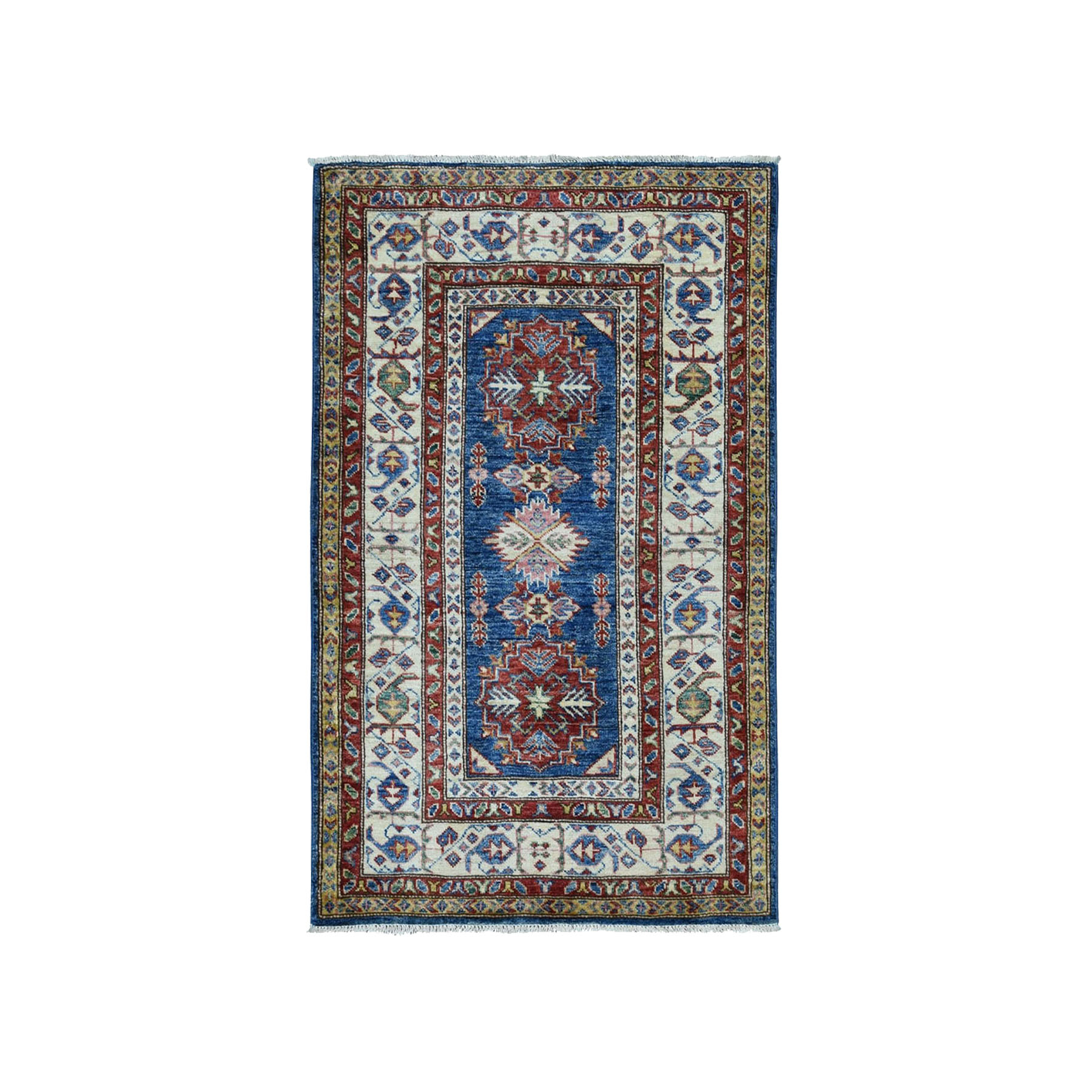 "2'8""X4' Blue Super Kazak Pure Wool Geometric Design Hand-Knotted Oriental Rug moae0a0c"