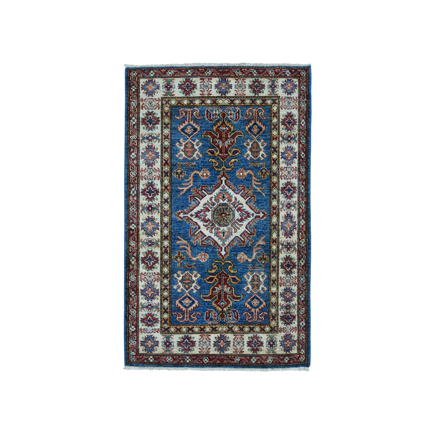 "2'9""X4' Blue Super Kazak Pure Wool Geometric Design Hand-Knotted Oriental Rug moae0a0d"