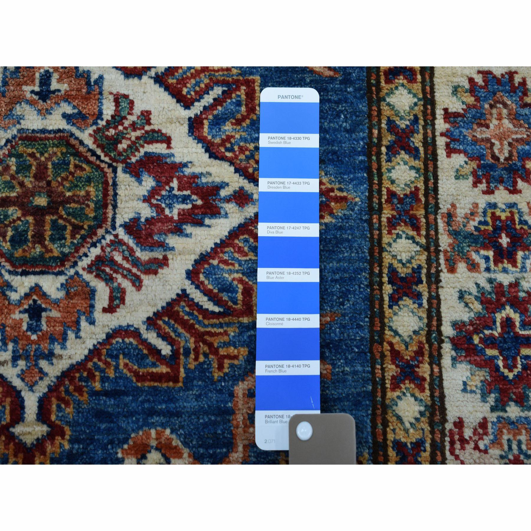 2-9 x4- Blue Super Kazak Pure Wool Geometric Design Hand-Knotted Oriental Rug