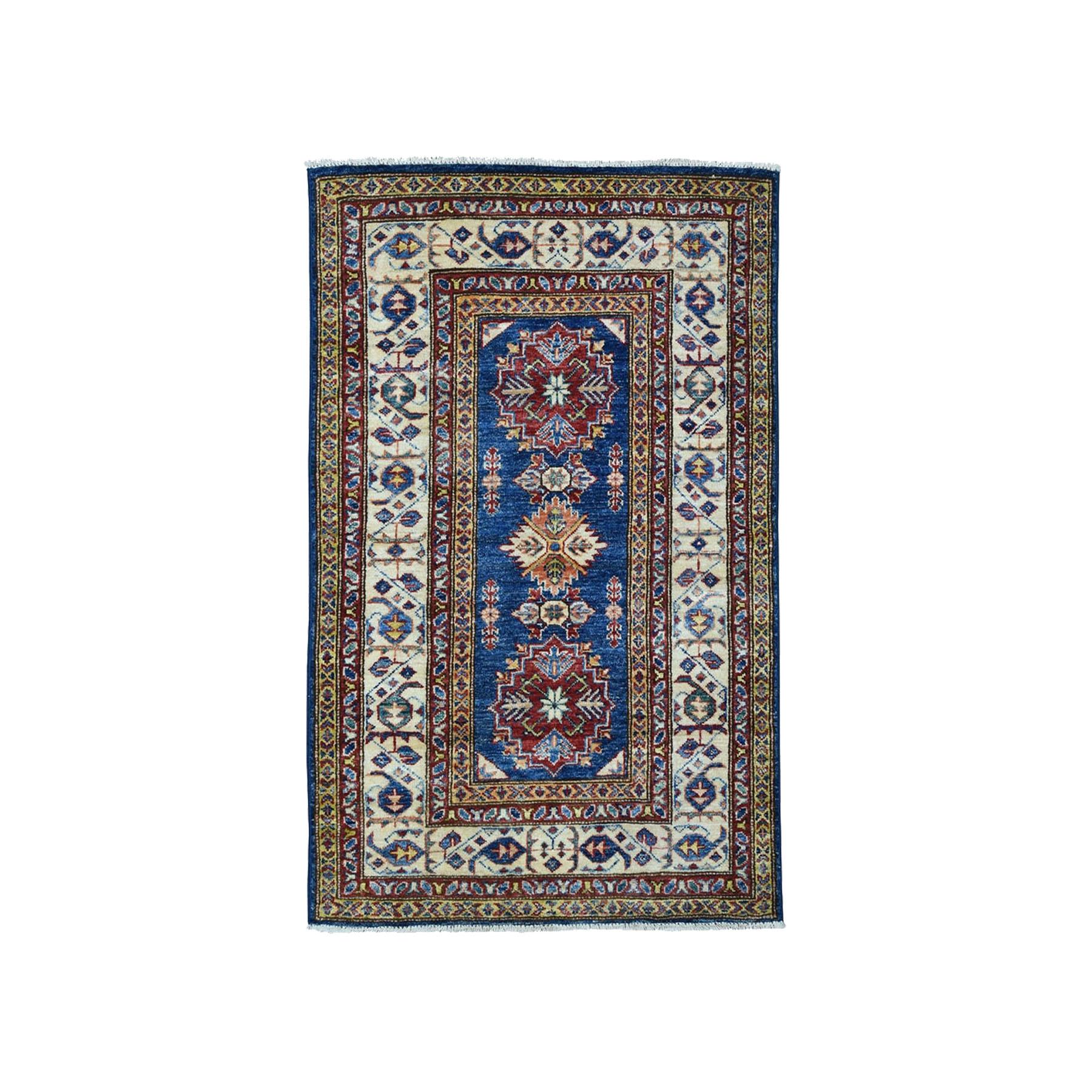 "2'10""X4'2"" Blue Super Kazak Pure Wool Geometric Design Hand-Knotted Oriental Rug moae0a0e"