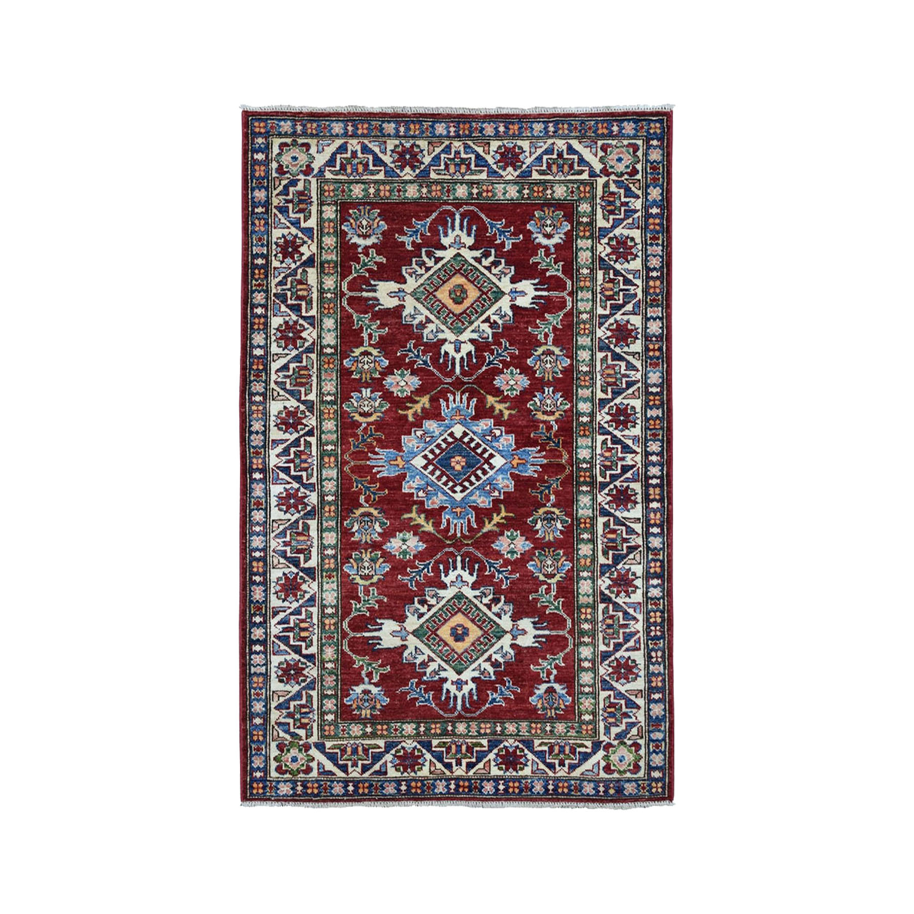 "3'4""X4'8"" Red Super Kazak Pure Wool Geometric Design Hand-Knotted Oriental Rug moae0a06"