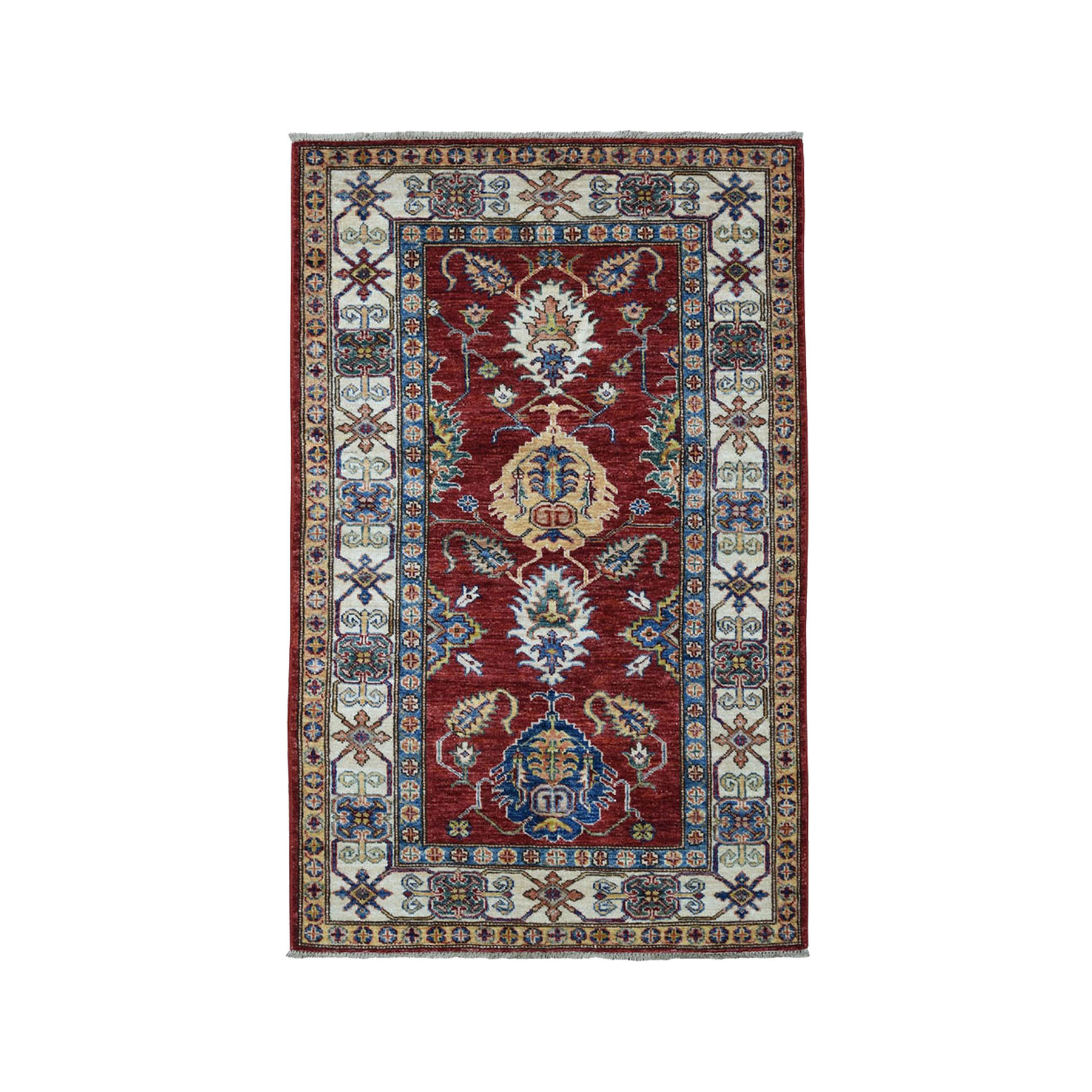 "3'1""X5' Red Super Kazak Pure Wool Geometric Design Hand-Knotted Oriental Rug moae0a09"