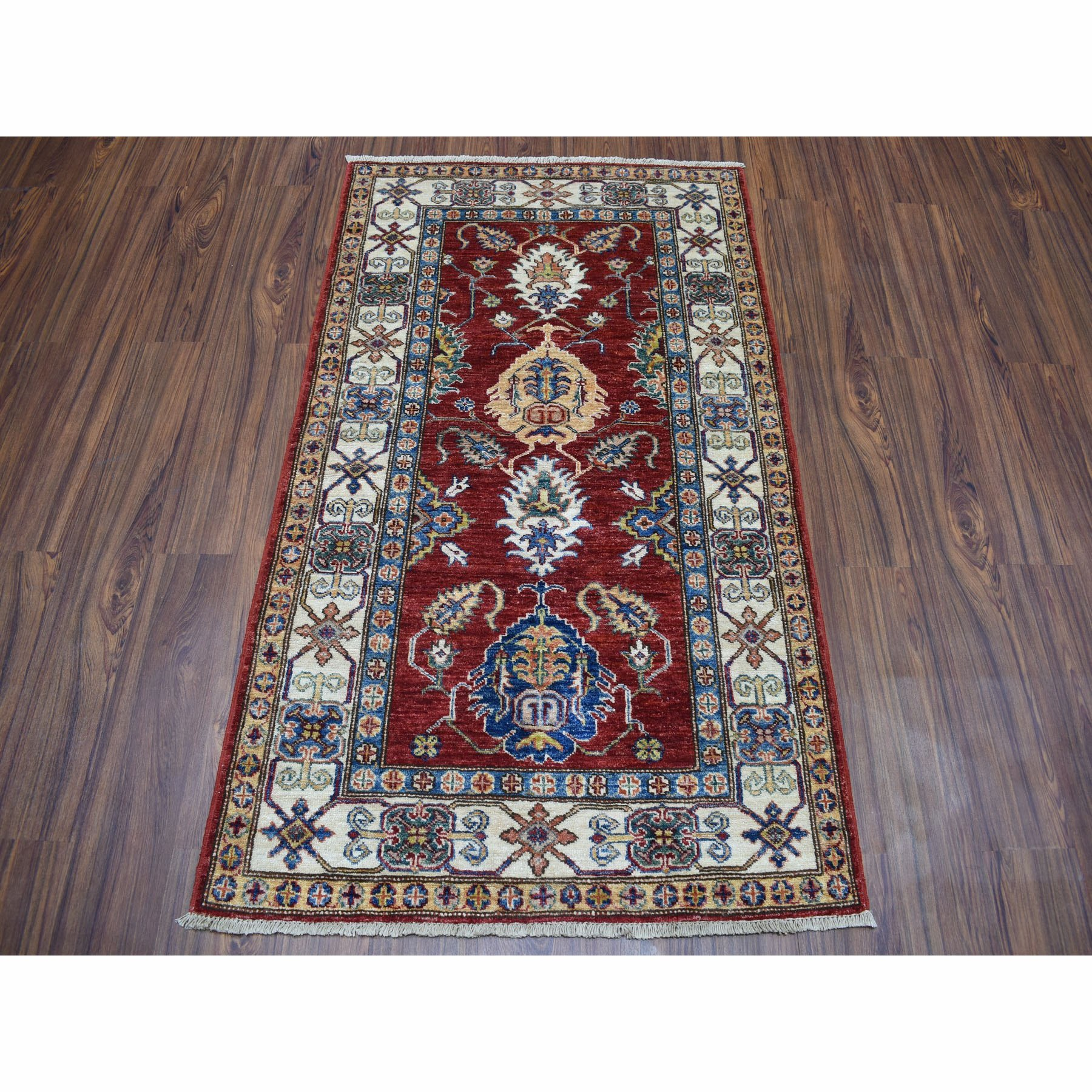 3-1 x5- Red Super Kazak Pure Wool Geometric Design Hand-Knotted Oriental Rug