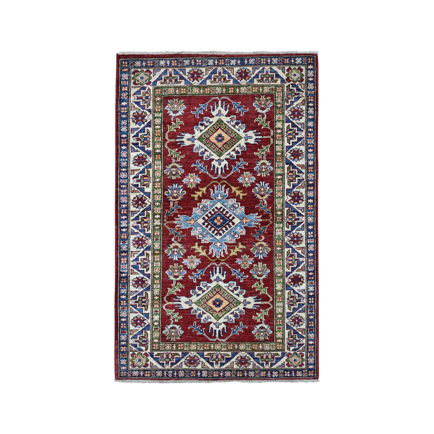 "3'4""X4'8"" Red Super Kazak Pure Wool Geometric Design Hand-Knotted Oriental Rug moae0aa0"