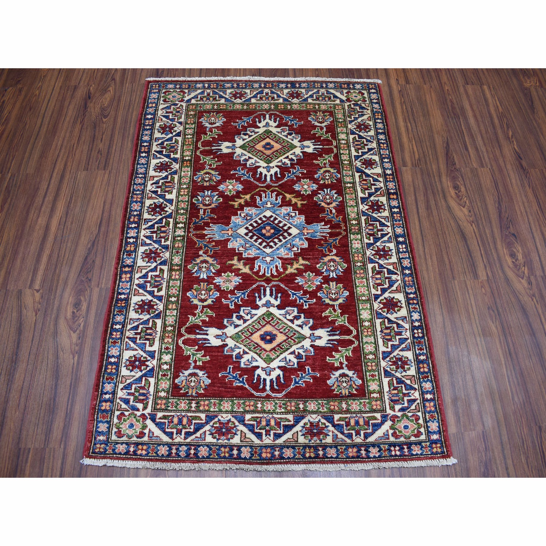 "3'4""x4'8"" Red Super Kazak Pure Wool Geometric Design Hand-Knotted Oriental Rug"