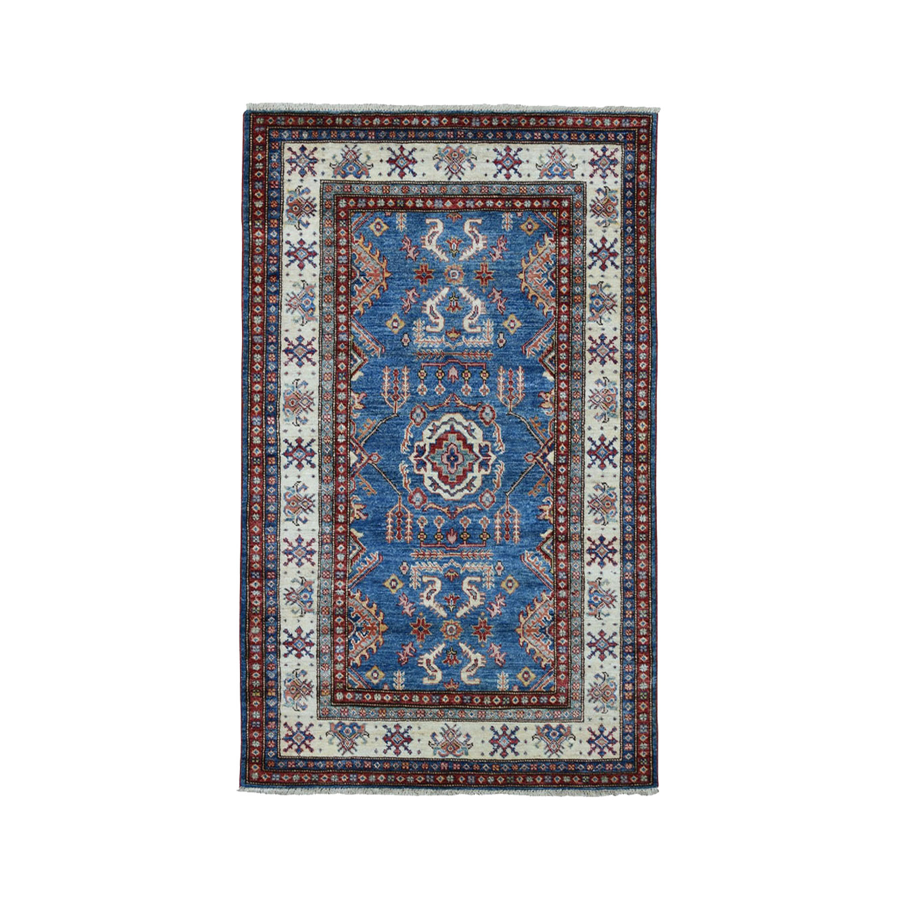 3-5 x5- Blue Super Kazak Pure Wool Geometric Design Hand-Knotted Oriental Rug