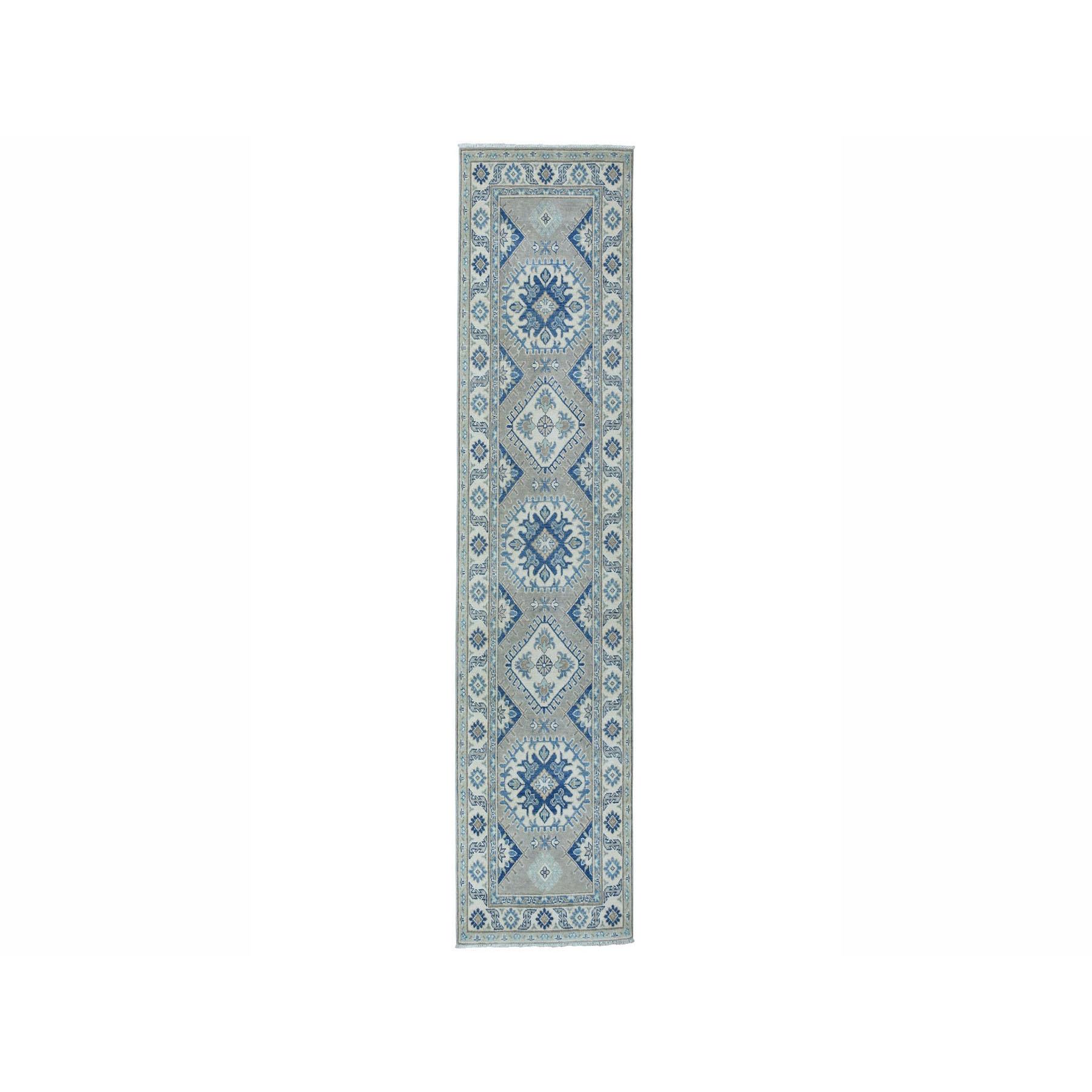 "2'8""X9'5"" Gray Vintage Look Kazak Pure Wool Hand-Knotted Oriental Runner Rug moae0aa6"