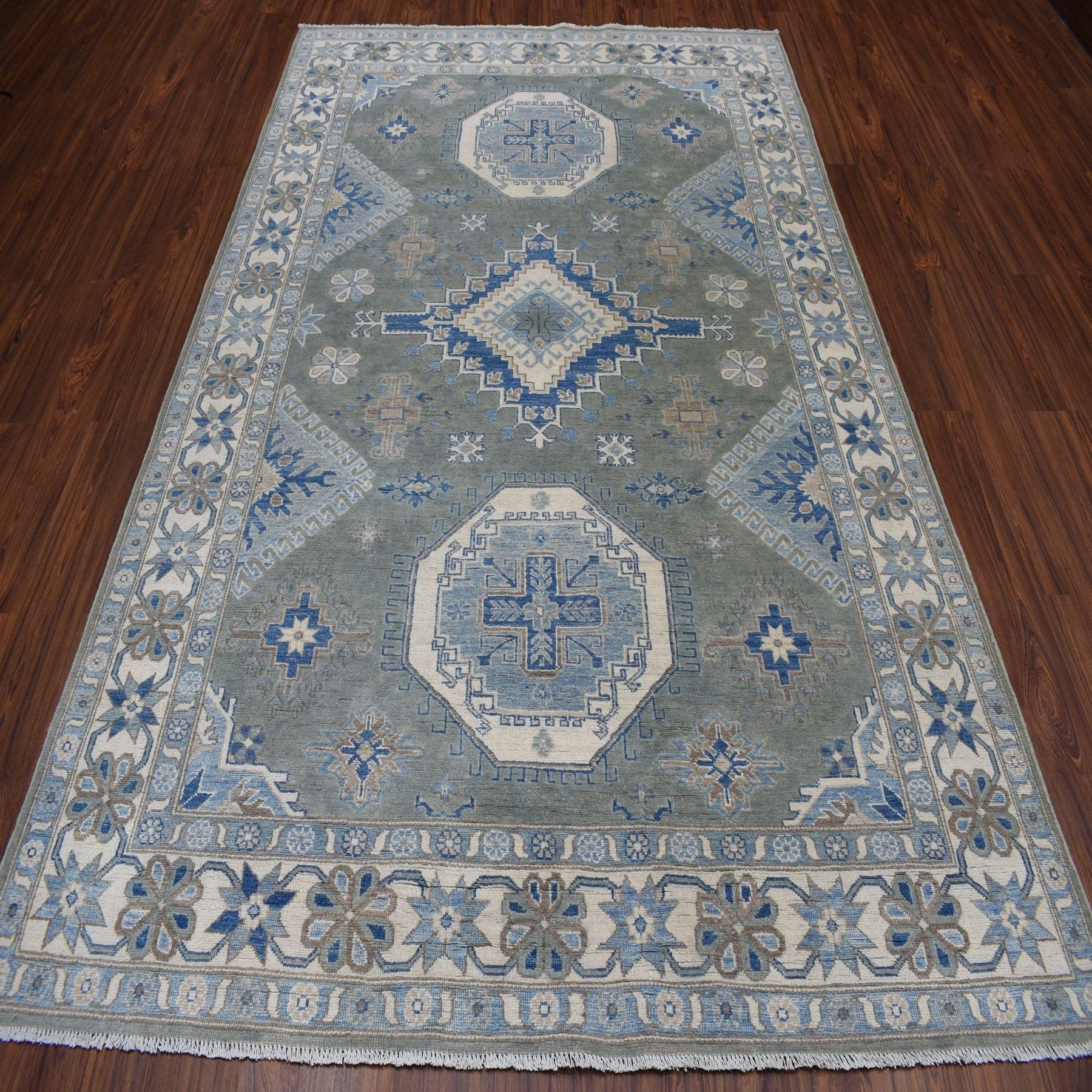 6-4 x9-2  Gray Hand-Knotted Vintage Look Kazak Pure Wool Oriental Rug