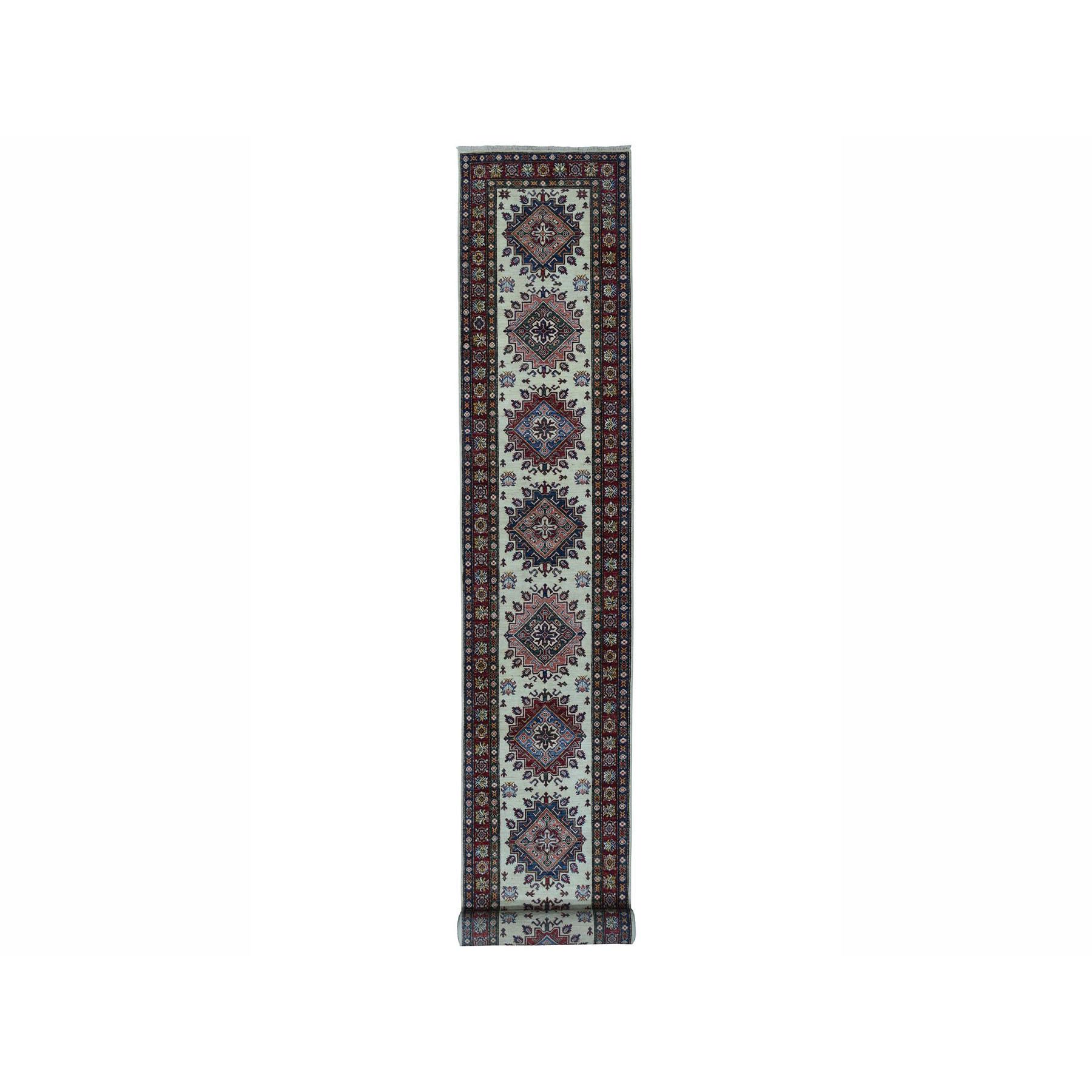 "2'9""X19'1"" Ivory Super Kazak Geometric Design Hand-Knotted Xl Runner Oriental Rug moae0a87"