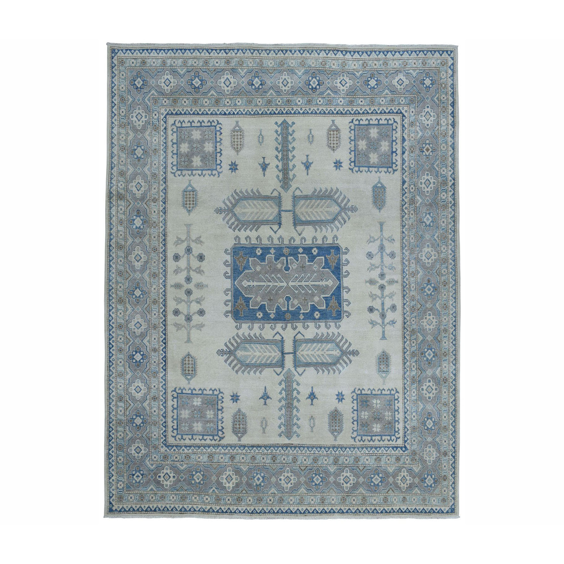 """8'4""""X10'3"""" Ivory Hand-Knotted Vintage Look Kazak Pure Wool Oriental Rug moae0a9e"""
