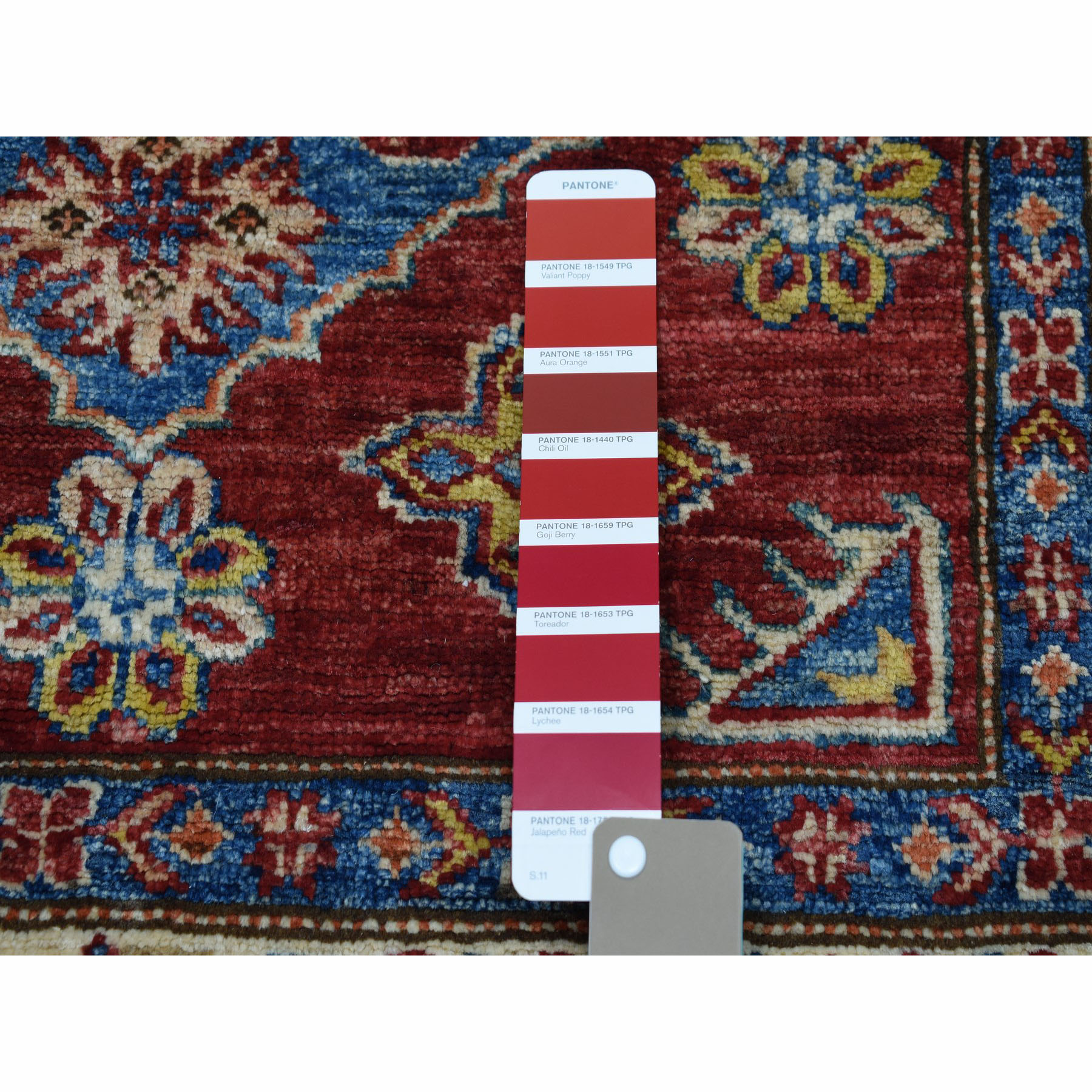3-3 x5- Red Super Kazak Pure Wool Geometric Design Hand-Knotted Oriental Rug