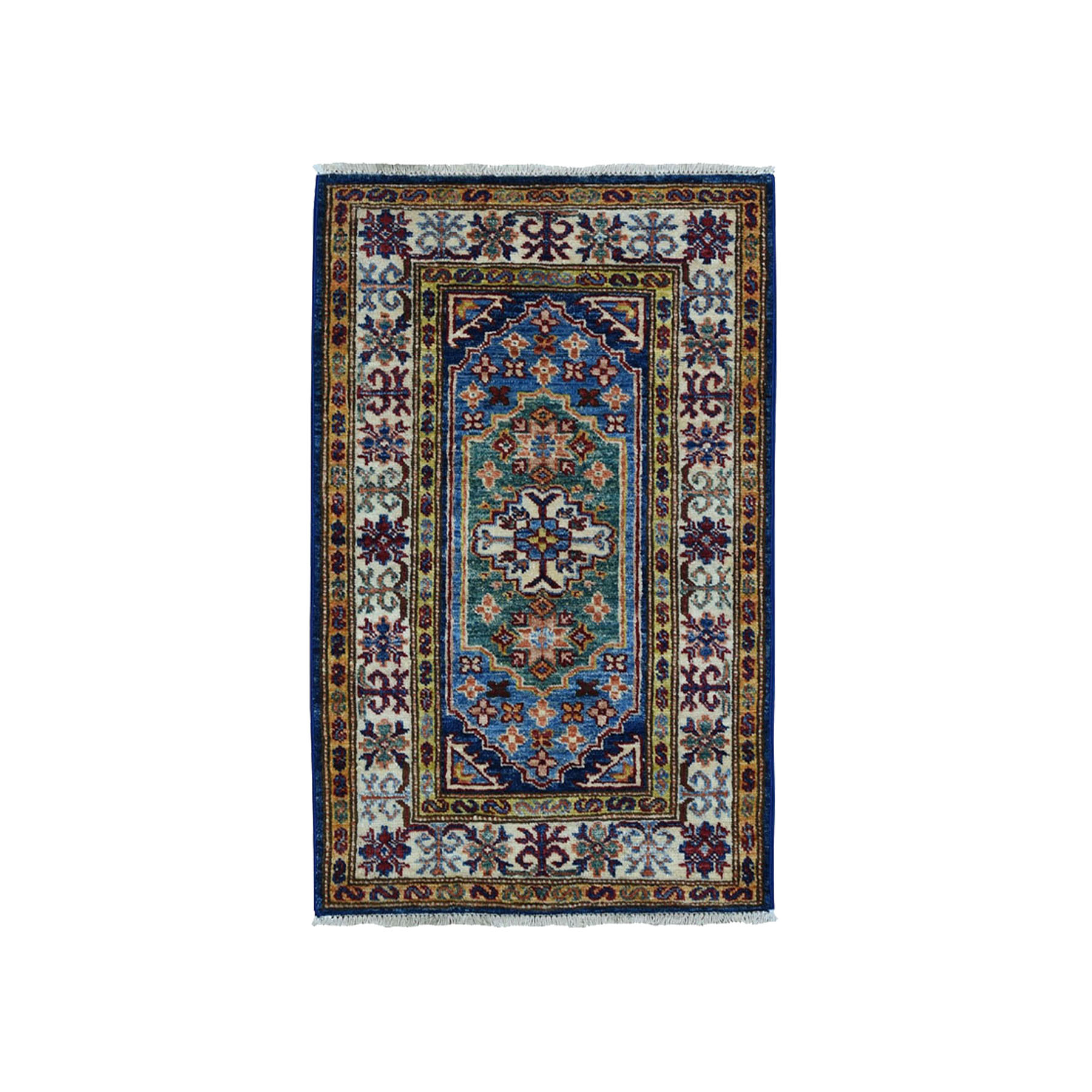 "2'x2'10"" Blue Super Kazak Pure Wool Geometric Design Hand-Knotted Oriental Rug"
