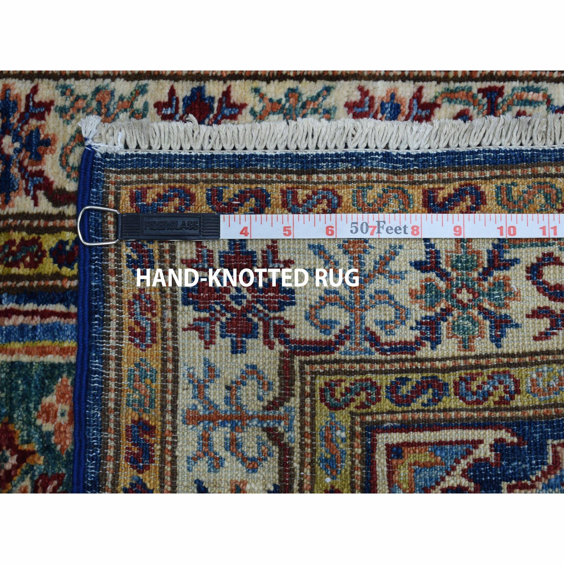 2-x2-10  Blue Super Kazak Pure Wool Geometric Design Hand-Knotted Oriental Rug