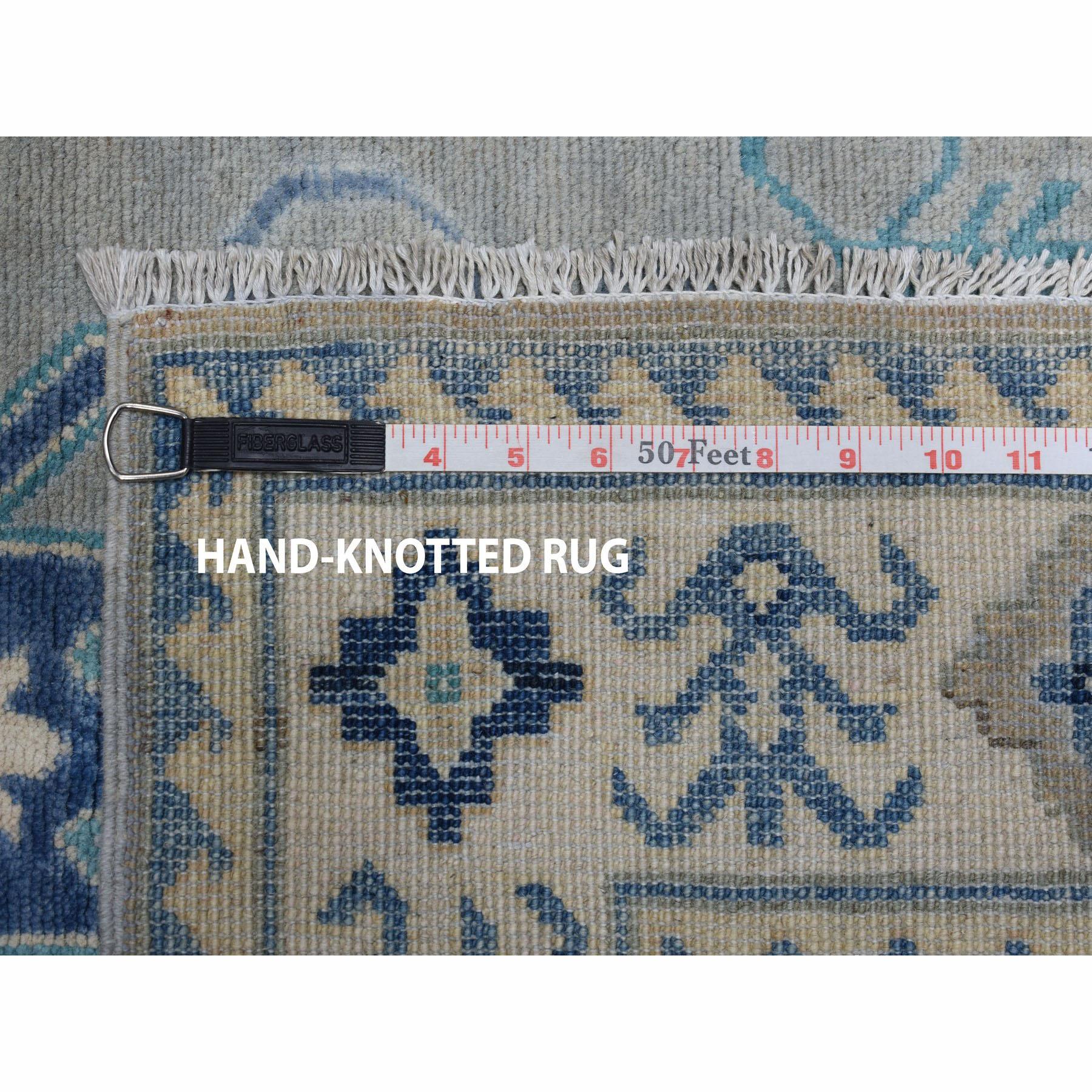 3-2 x5- Gray Vintage Look Kazak Pure Wool Hand-Knotted Oriental Rug
