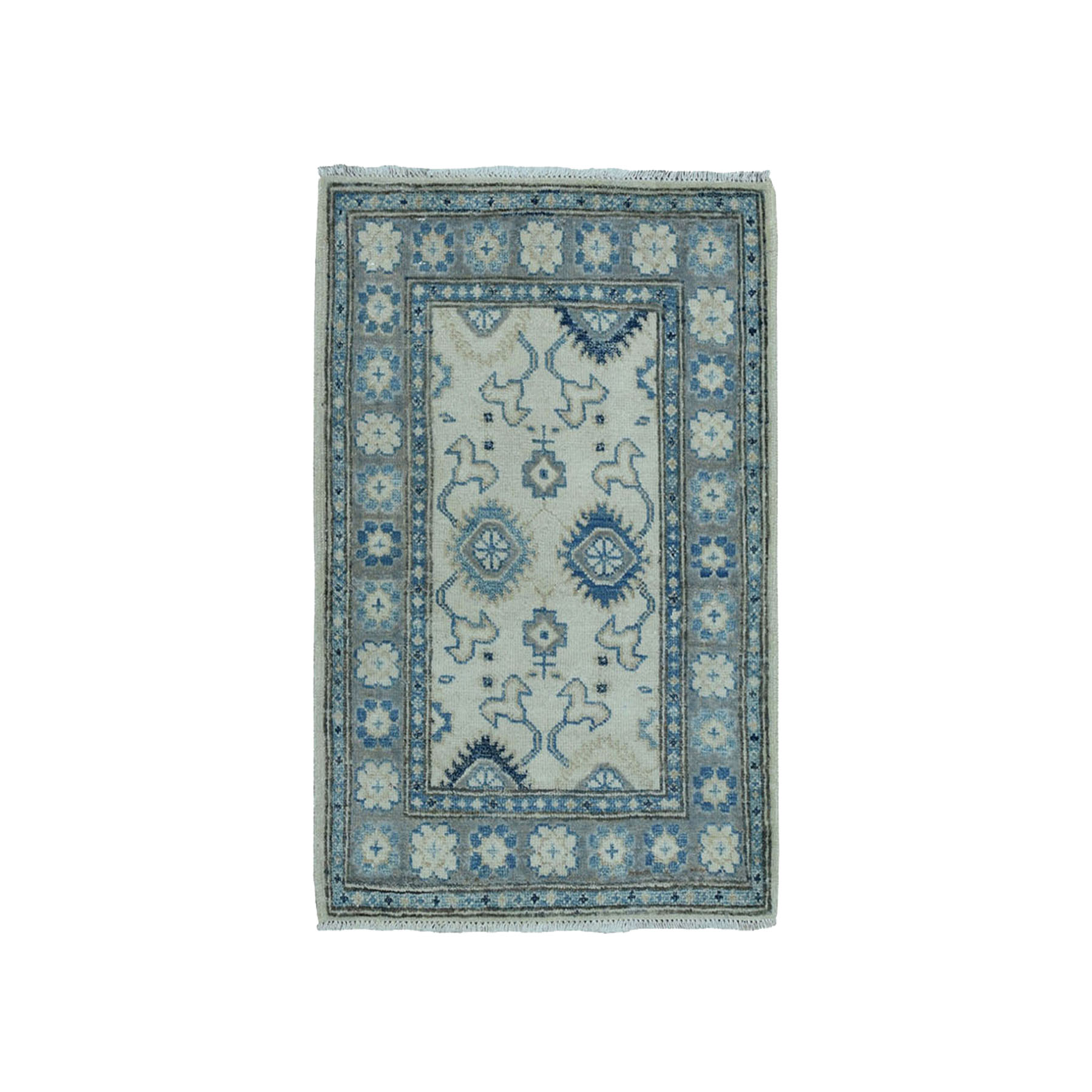 """2'1""""X3' Pure Wool Vintage Look Kazak Hand-Knotted Oriental Rug moae0bcc"""