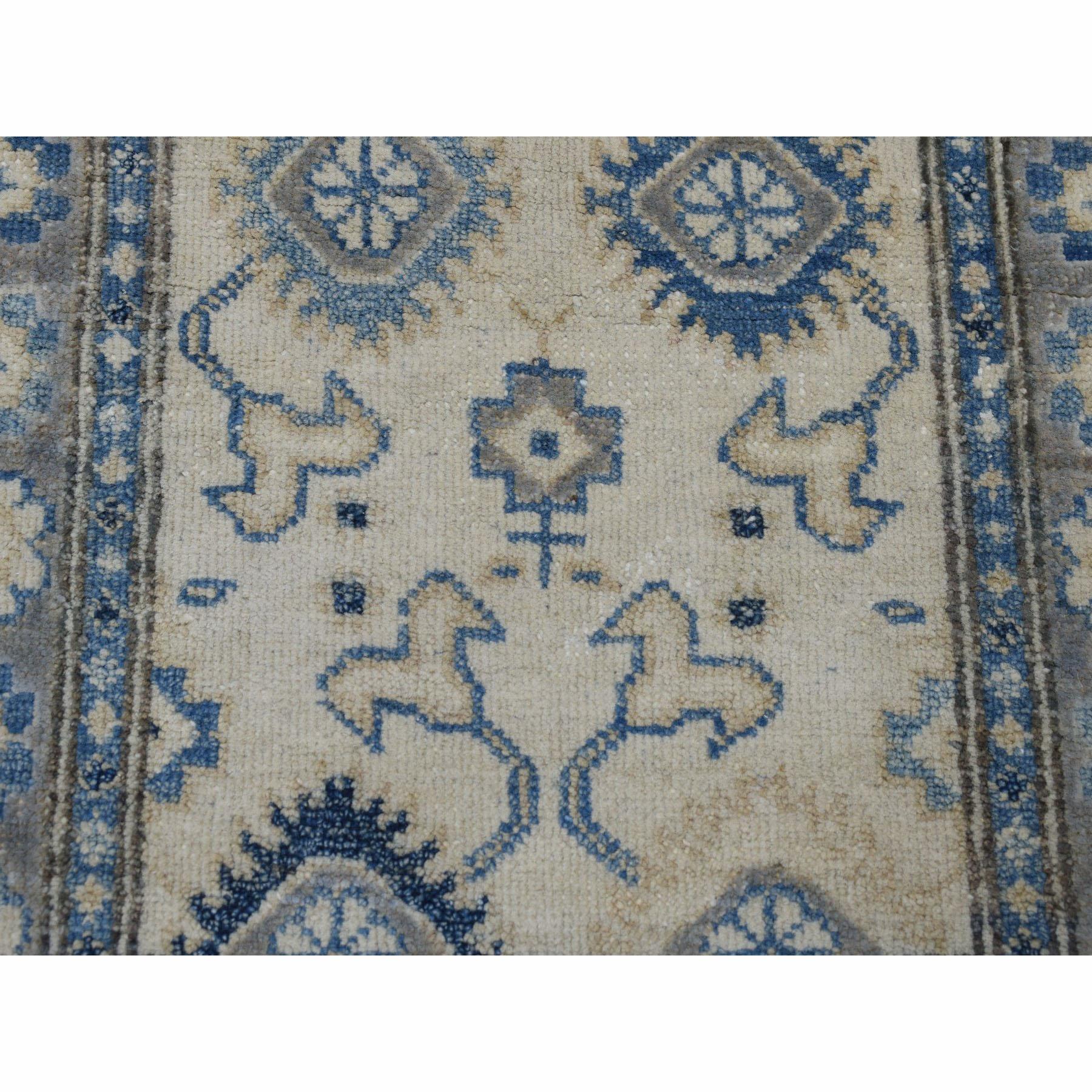 2-1 x3- Pure Wool Vintage Look Kazak Hand-Knotted Oriental Rug