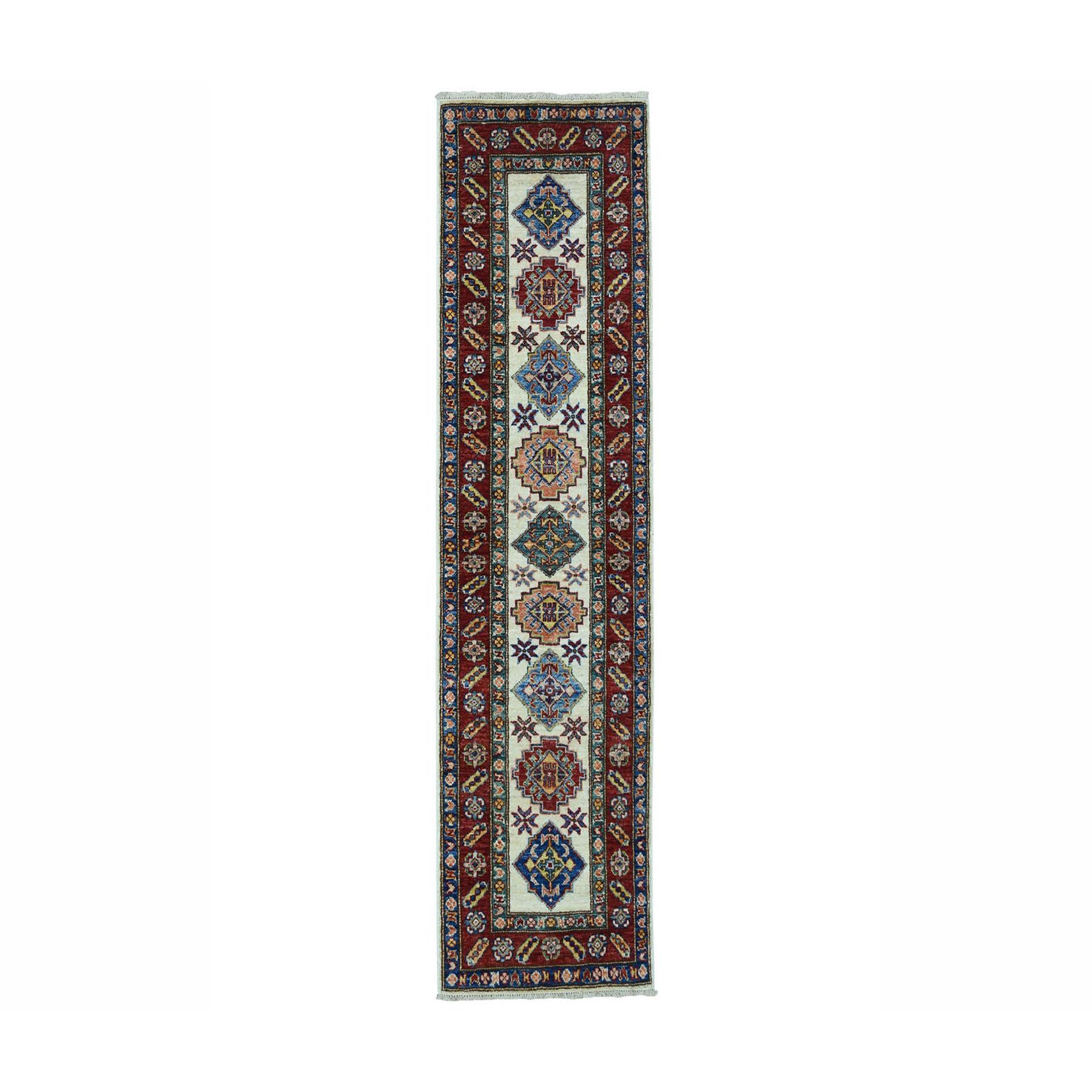 "2'X6'3"" Ivory Super Kazak Pure Wool Geometric Design Hand-Knotted Oriental Runner Rug moae0beb"