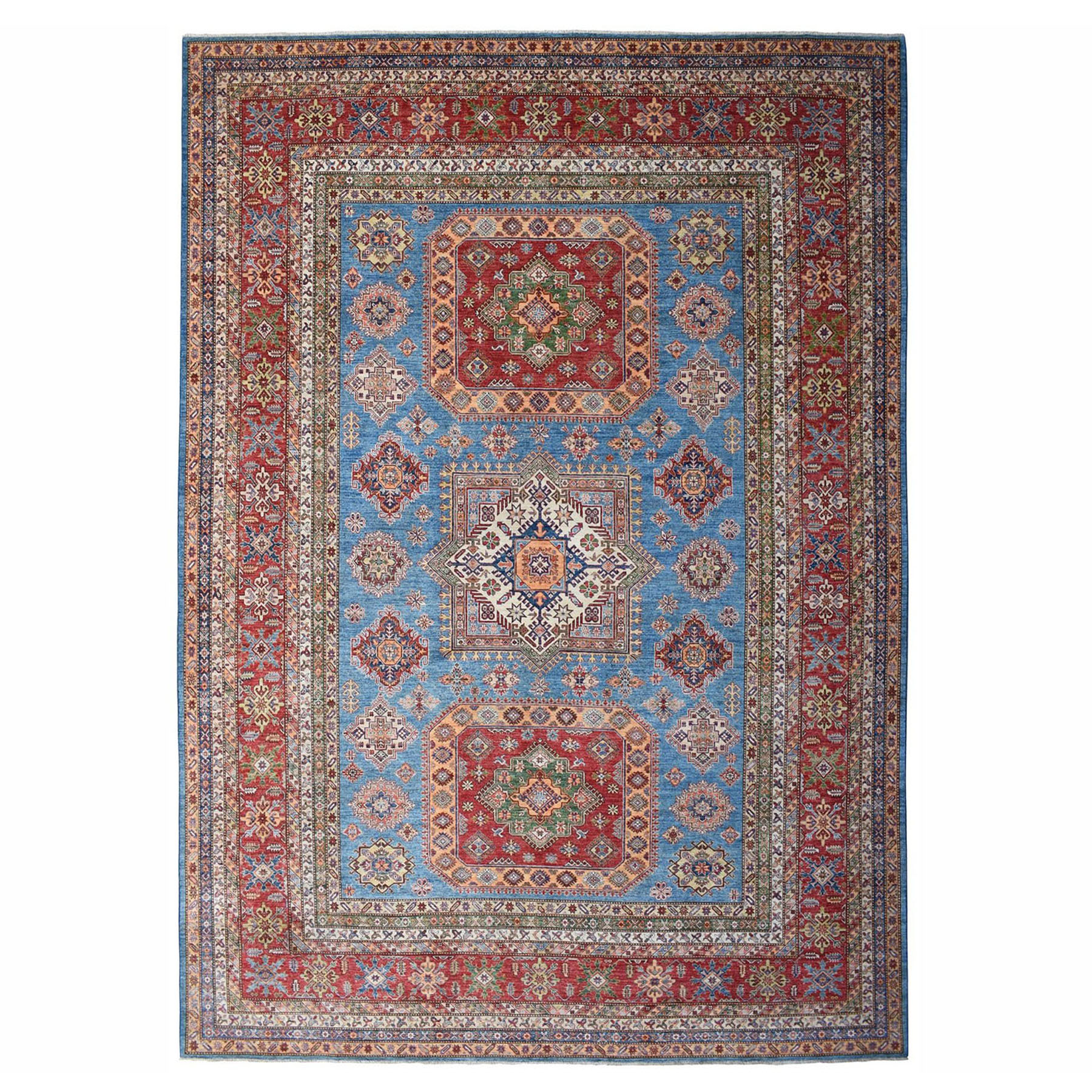 "12'2""X15'3"" Blue Oversize Super Kazak Pure Wool Geometric Design Hand-Knotted Oriental Rug moae0bee"
