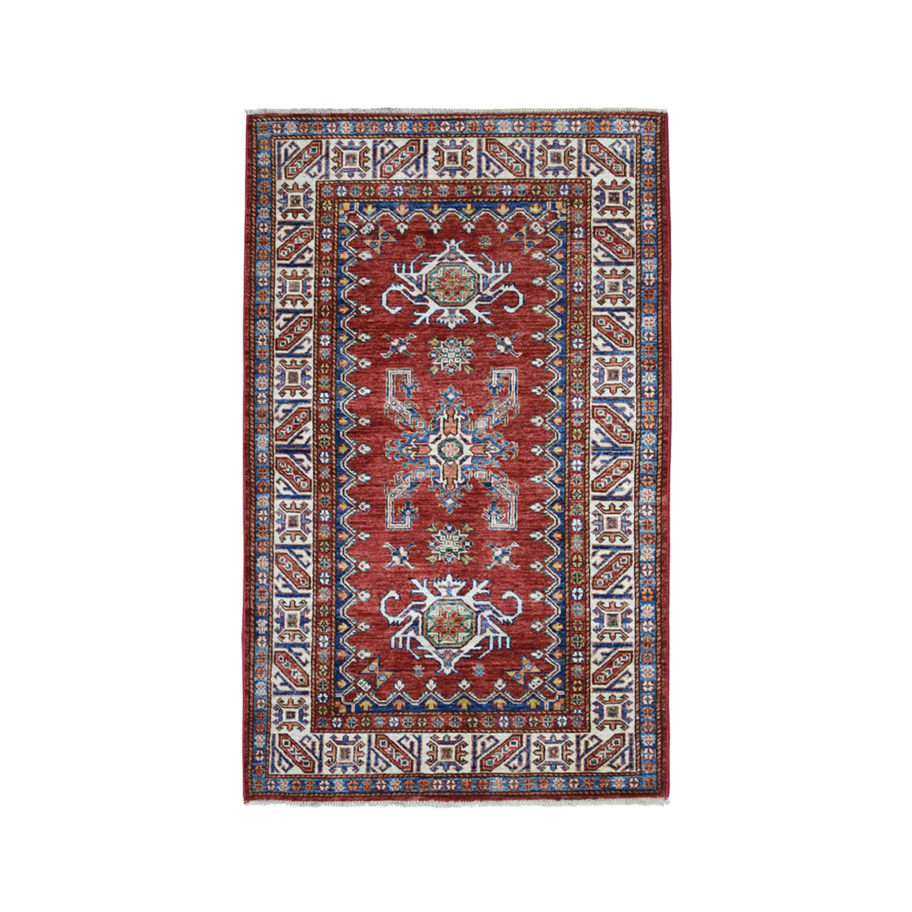 "3'1""X5'2"" Red Super Kazak Pure Wool Geometric Design Hand-Knotted Oriental Rug moae0b9a"