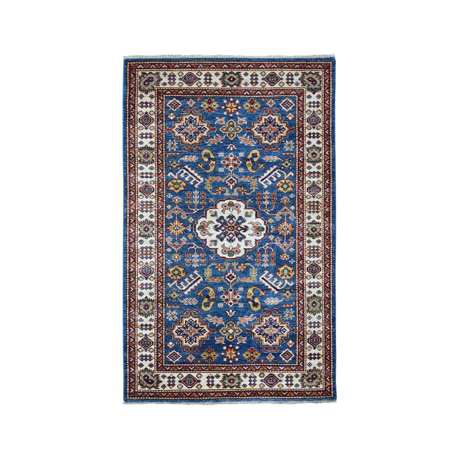 "3'3""X5'2"" Blue Super Kazak Pure Wool Geometric Design Hand-Knotted Oriental Rug moae0b9b"