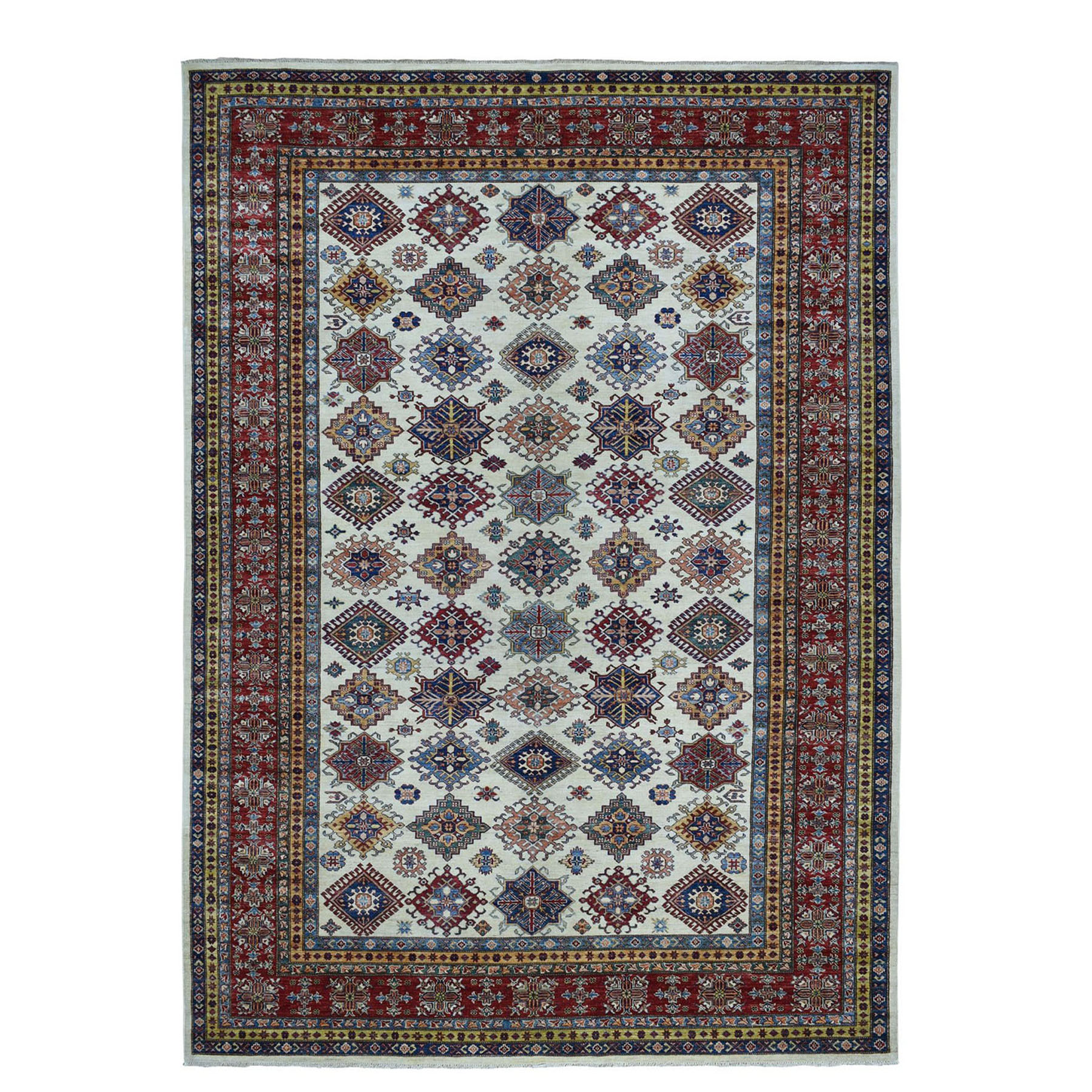 "8'6""X11'9"" Ivory Super Kazak Pure Wool Geometric Design Hand-Knotted Oriental Rug moae0c0e"