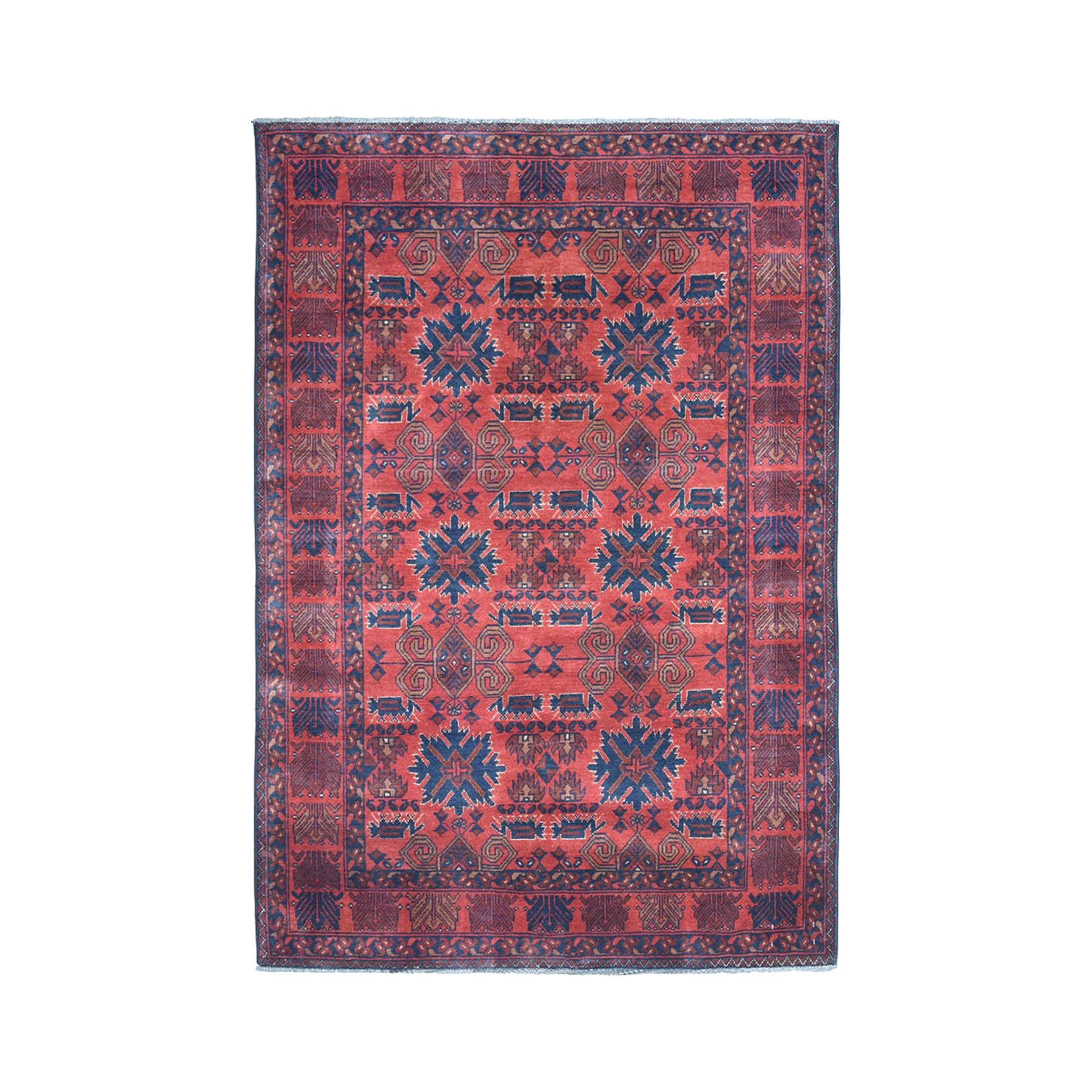 """4'X6'4"""" Vintage Look Red Geometric Design Afghan Andkhoy Pure Wool Hand-Knotted Oriental Rug moae0cab"""