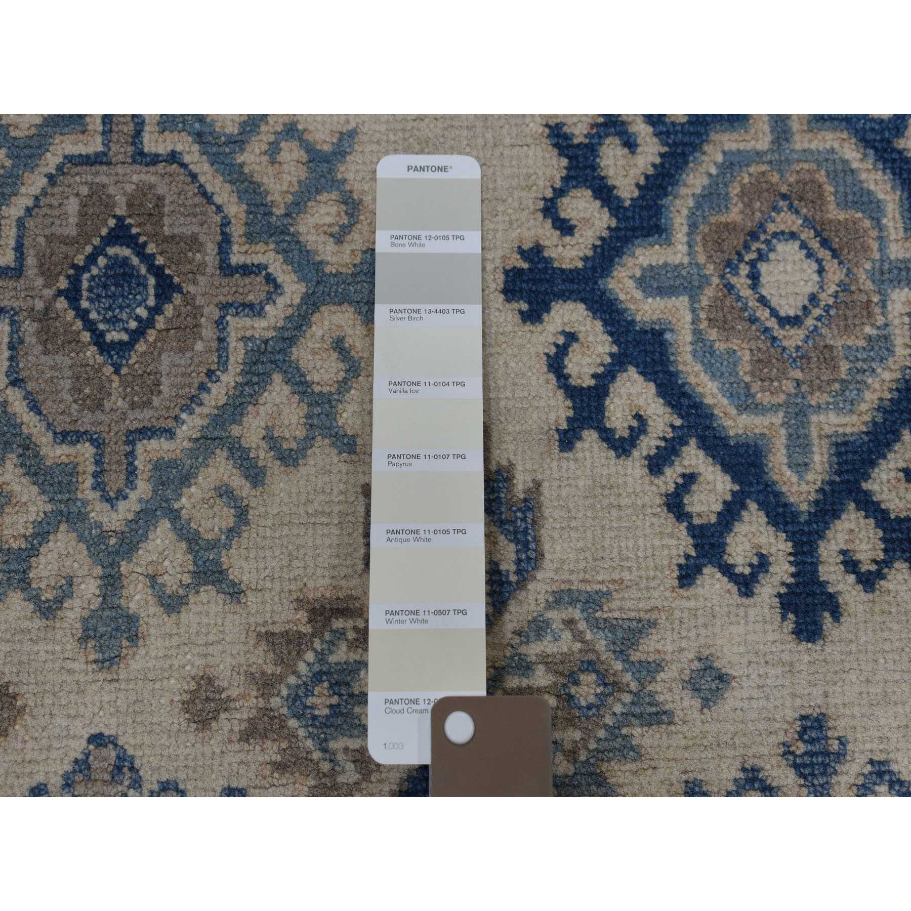4-x6-1  Ivory Vintage Look Kazak Geometric Design Hand-Knotted Oriental Rug