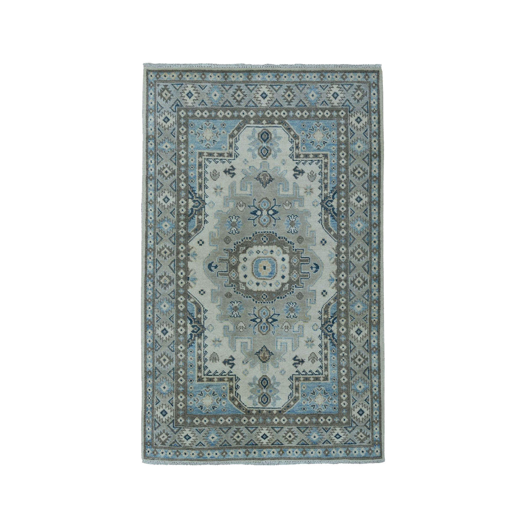 "3'2""X4'8"" Ivory Geometric Design Vintage Look Kazak Pure Wool Hand-Knotted Oriental Rug moae0c7a"
