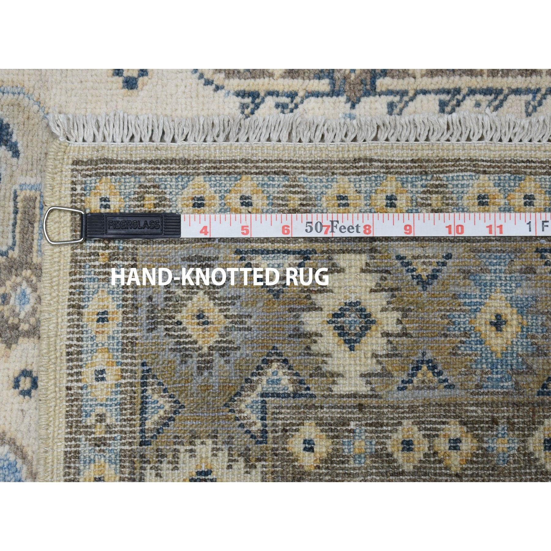 3-2 x4-8  Ivory Geometric Design Vintage Look Kazak Pure Wool Hand-Knotted Oriental Rug
