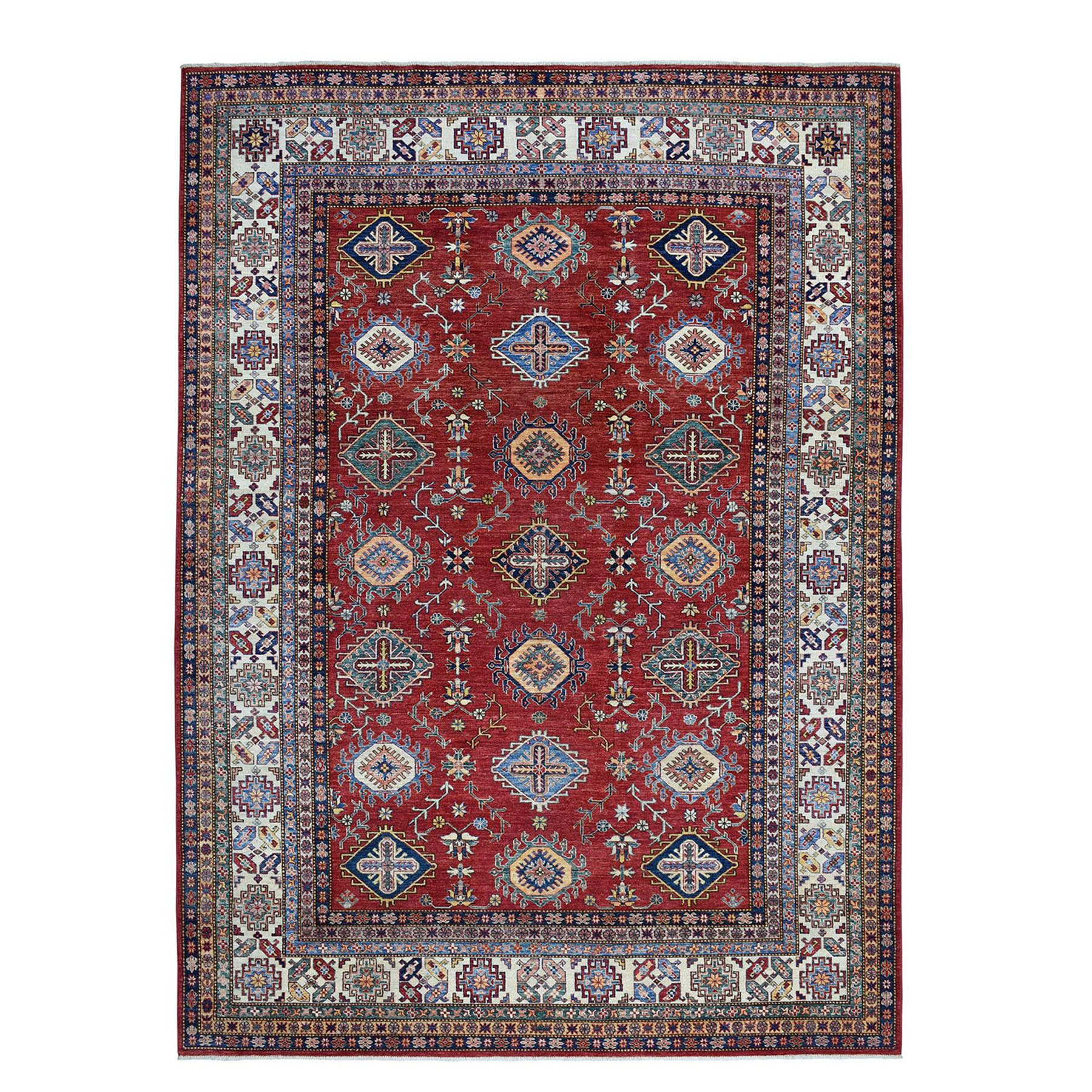 "8'9""X11'9"" Red Super Kazak Pure Wool Geometric Design Hand-Knotted Oriental Rug moae0c8d"