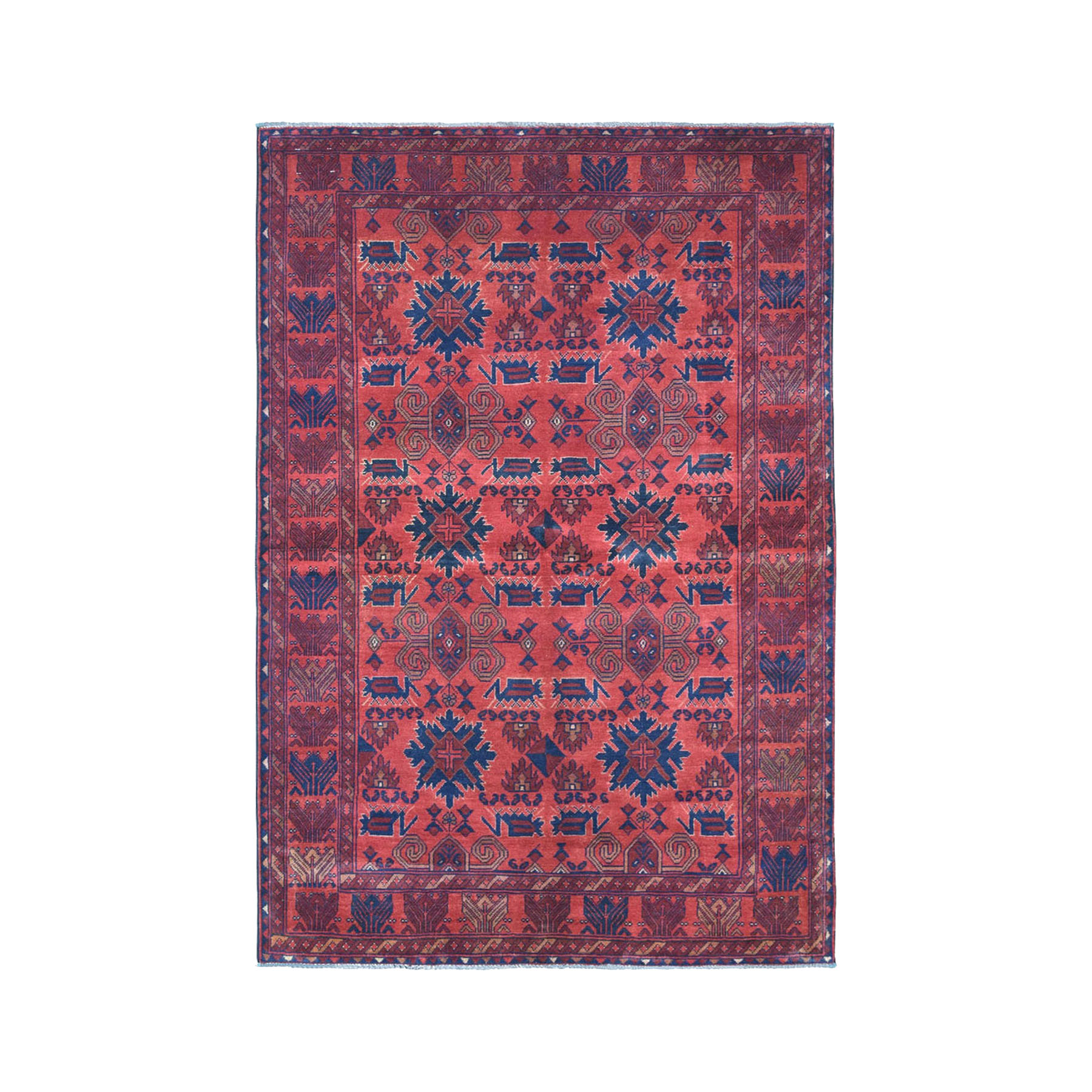 """4'2""""X6'7"""" Vintage Look Red Geometric Design Afghan Andkhoy Pure Wool Hand-Knotted Oriental Rug moae0d06"""