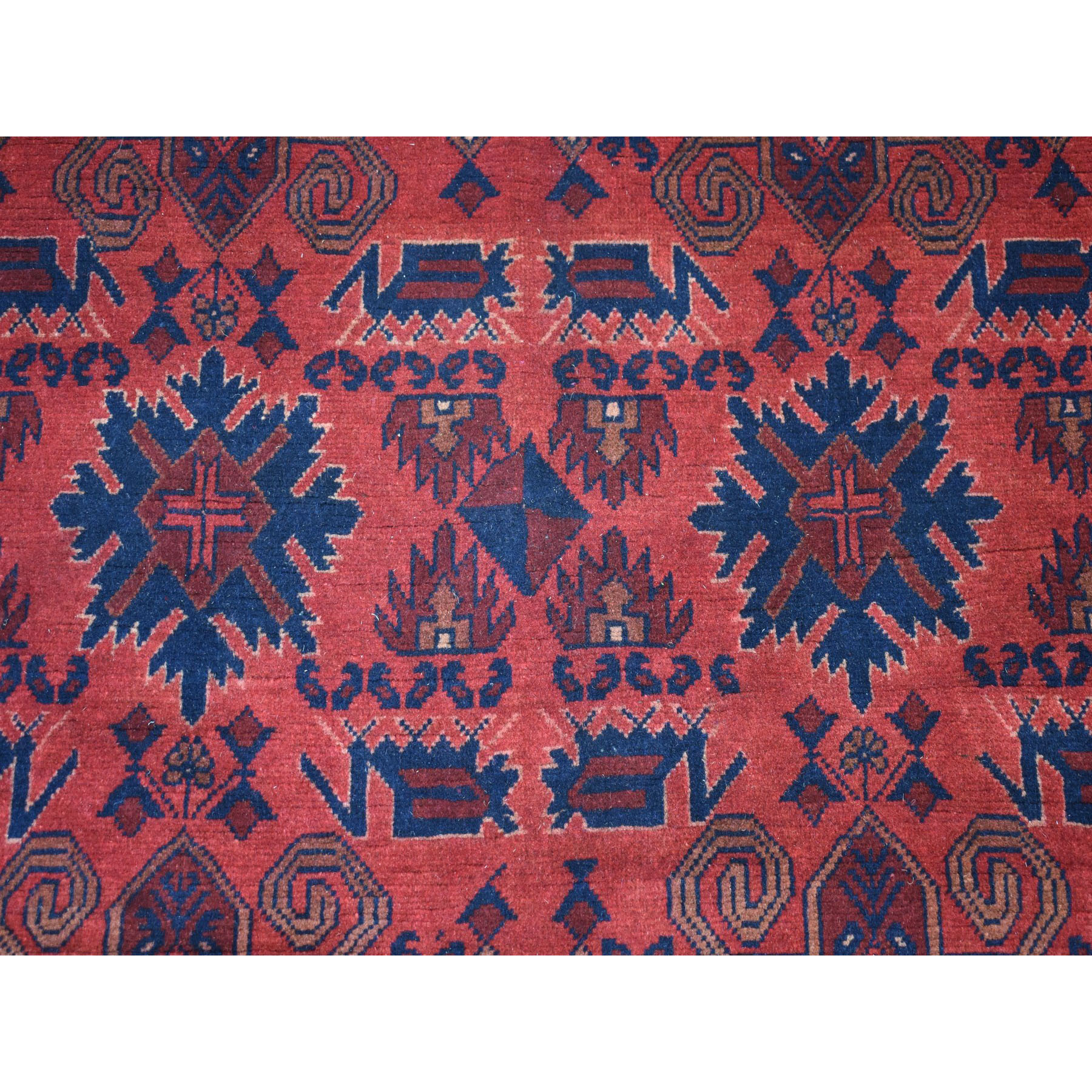 4-2 x6-7  Vintage Look Red Geometric Design Afghan Andkhoy Pure Wool Hand-Knotted Oriental Rug
