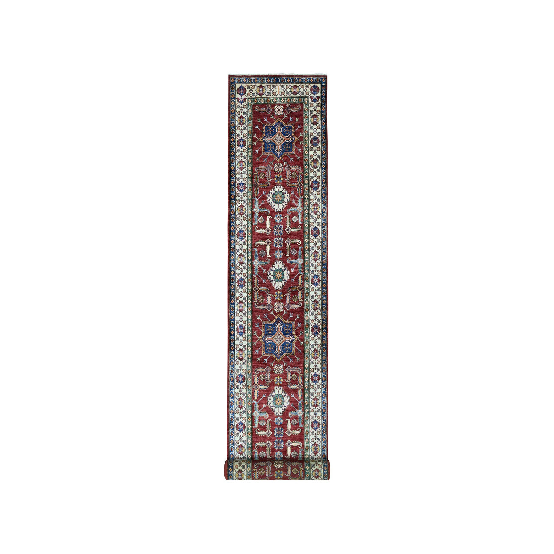 "3'4""x19'3"" Red Super Kazak Geometric Design Hand-Knotted XL Runner Oriental Rug"