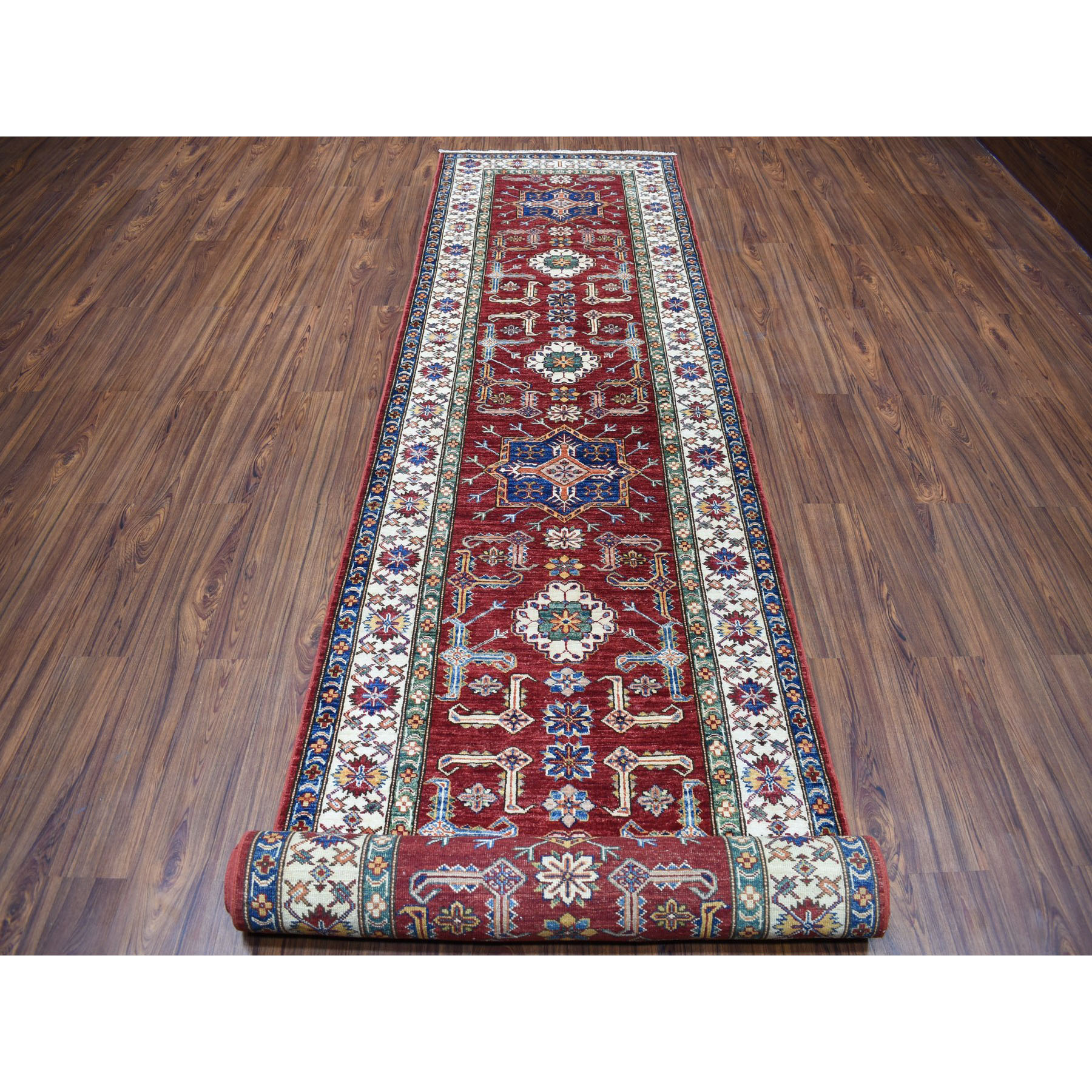 3-4 x19-3  Red Super Kazak Geometric Design Hand-Knotted XL Runner Oriental Rug