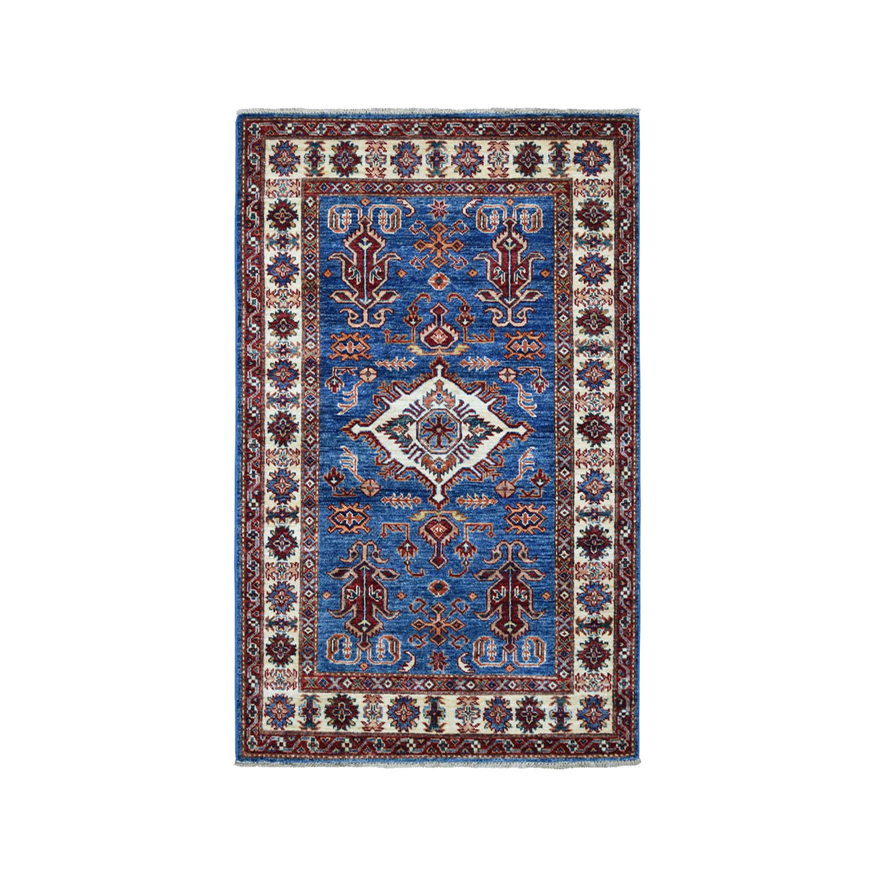 "3'3""x4'8"" Blue Super Kazak Geometric Design Pure Wool Hand-Knotted Oriental Rug"