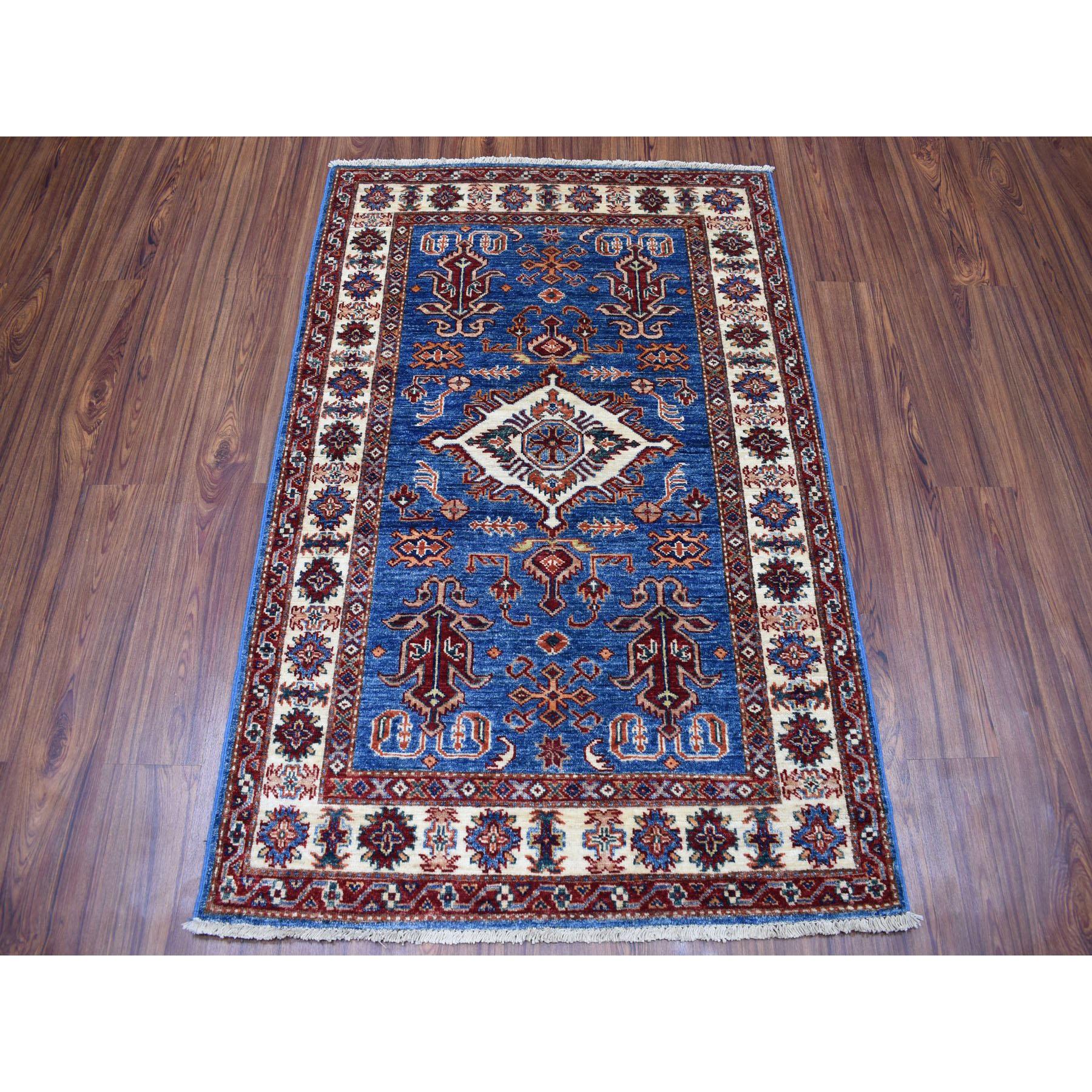 "3'3""x4'8"" Blue Super Kazak Geometric Design Pure Wool Hand-Knotted Oriental Rug"
