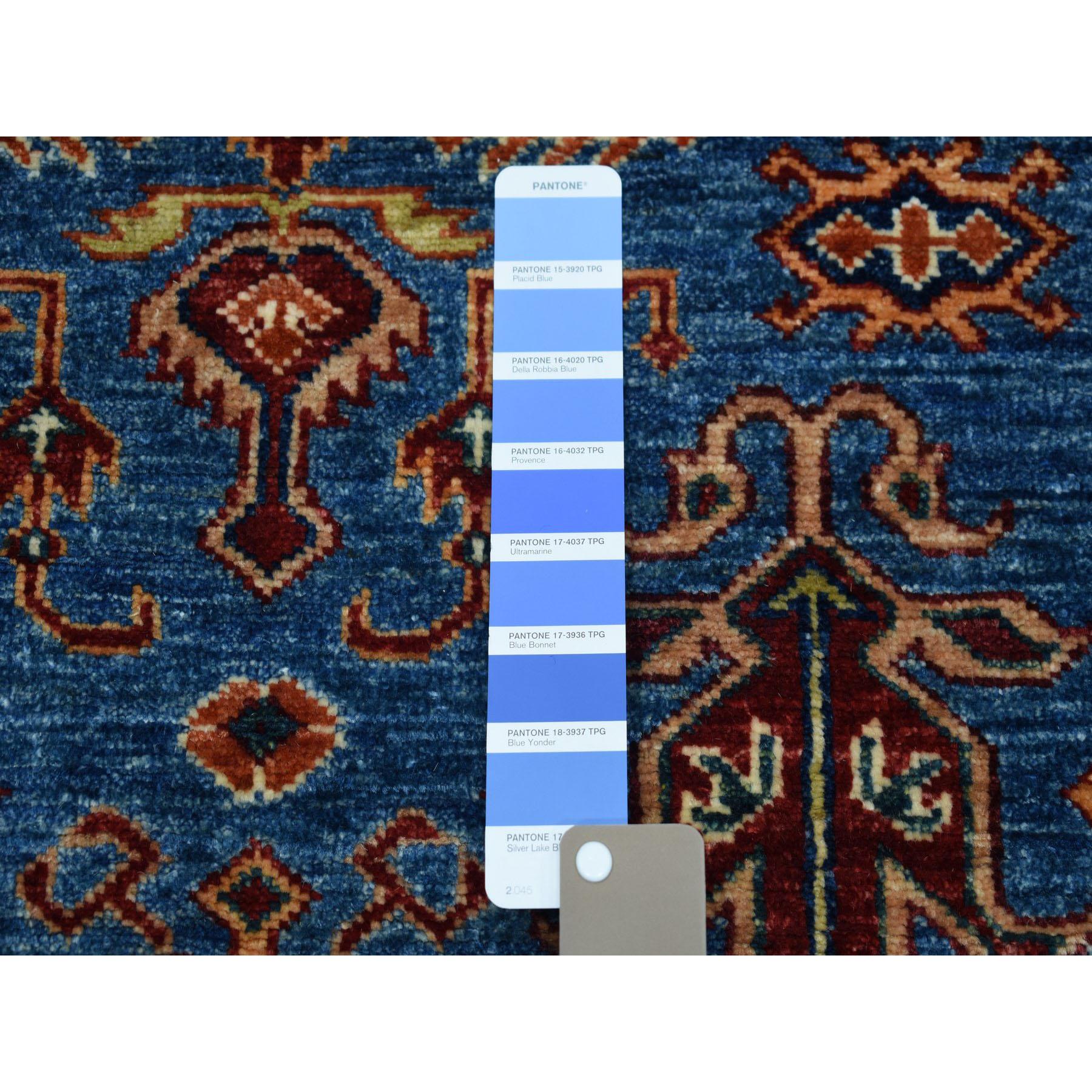 3-3 x4-8  Blue Super Kazak Geometric Design Pure Wool Hand-Knotted Oriental Rug
