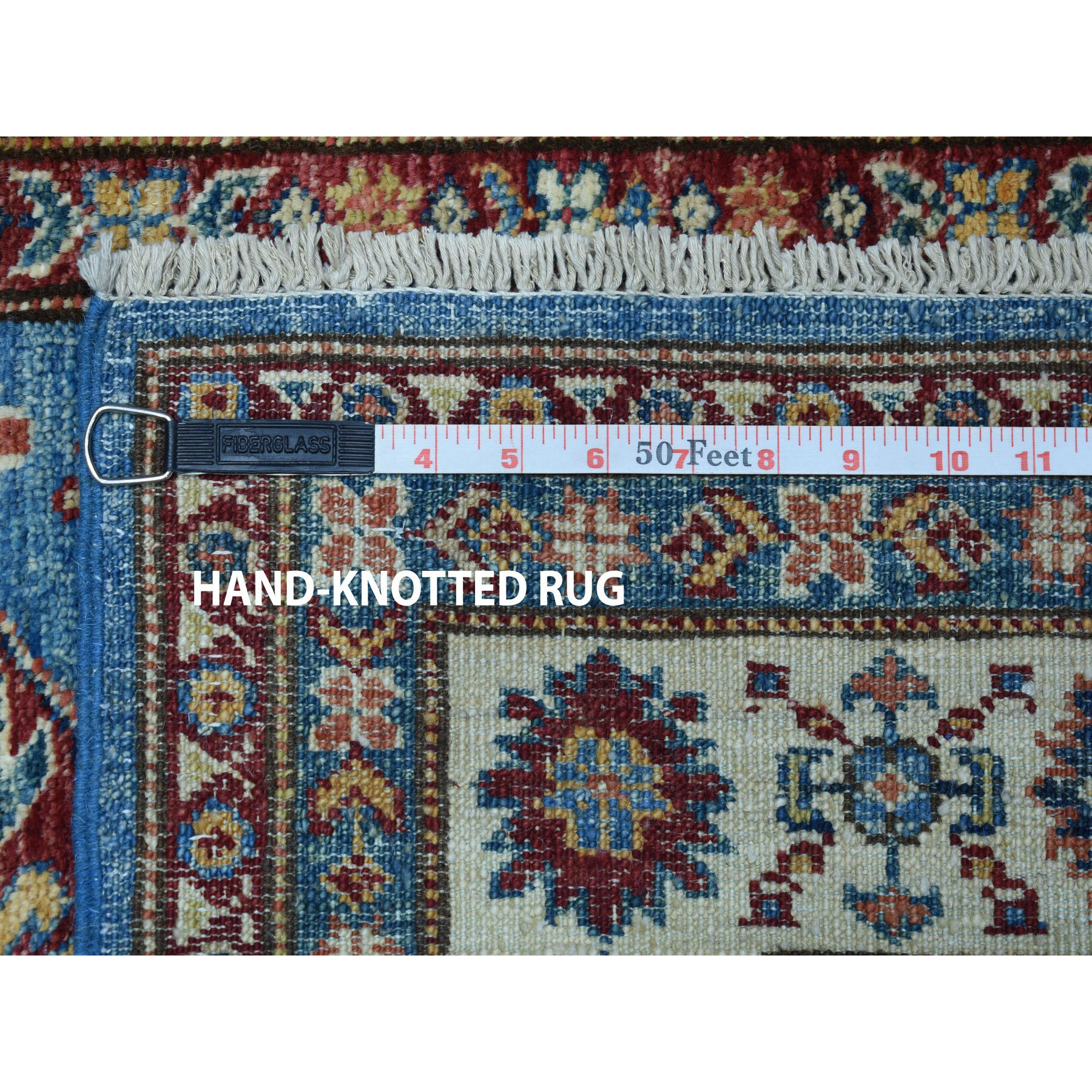 "3'2""x4'9"" Blue Super Kazak Geometric Design Pure Wool Hand-Knotted Oriental Rug"