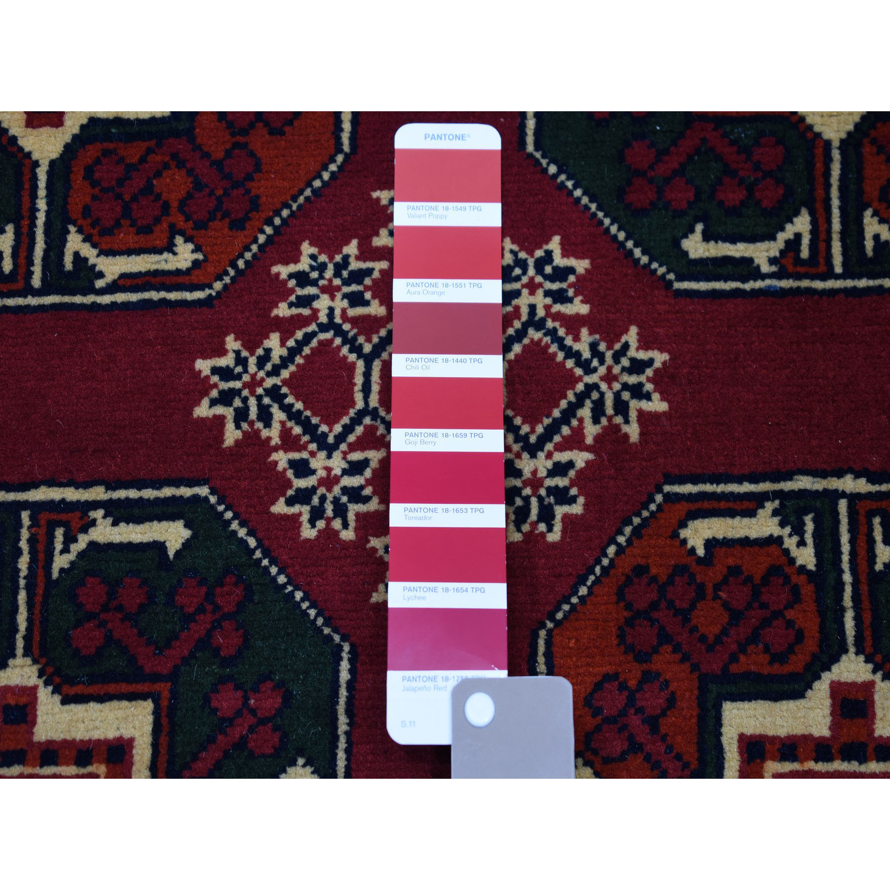 3-3 x5-3  Vintage Red Elephant Feet Design Afghan Andkhoy Pure Wool Hand-Knotted Oriental Rug