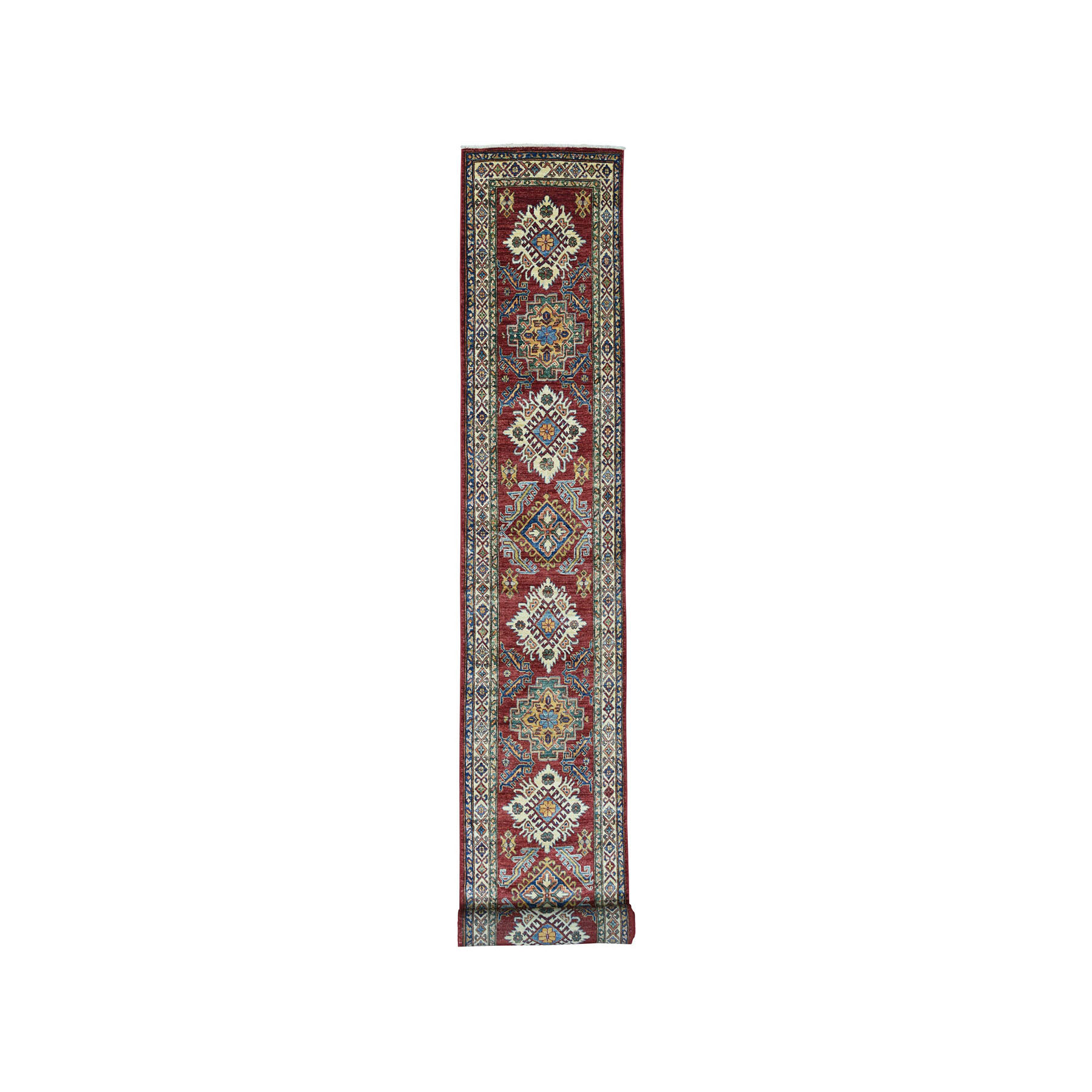"2'8""x20' Red Super Kazak Geometric Design XL Runner Pure Wool Hand-Knotted Oriental Rug"